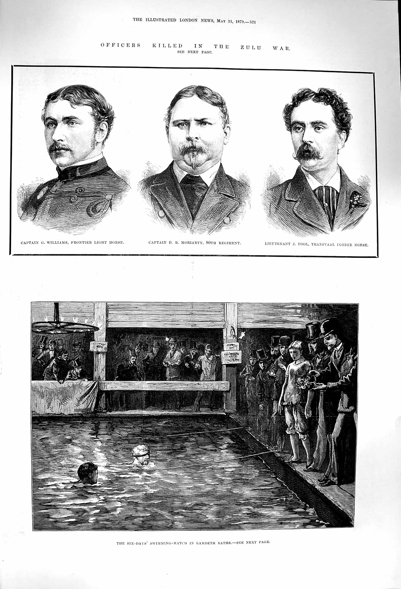 [Print 1879 Zulu War Williams Moriarty Pool Lambeth Swimming 521P174 Old Original]