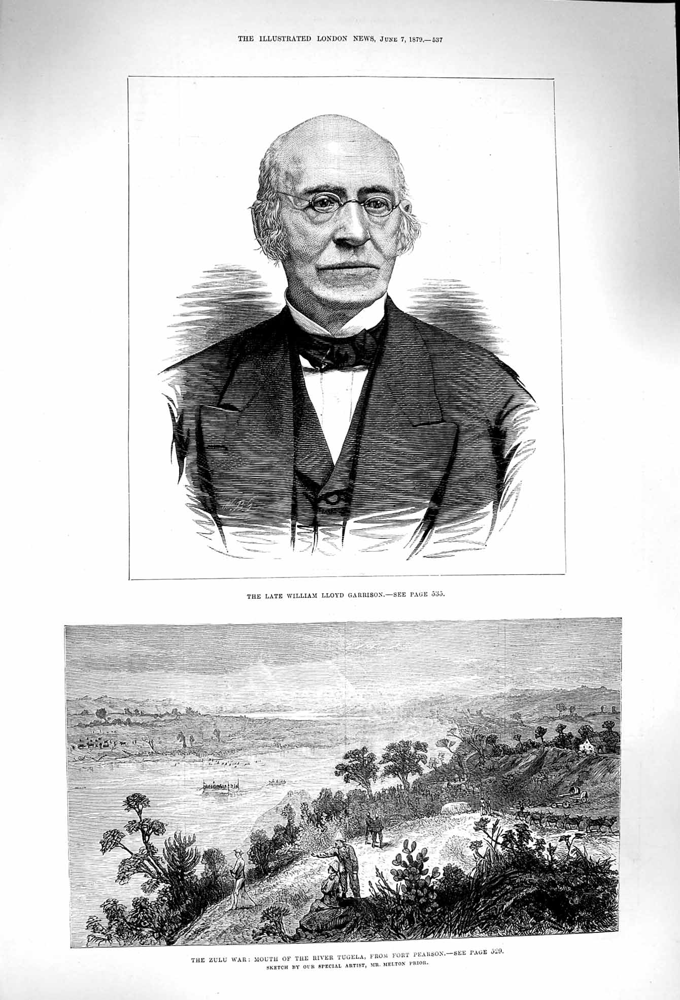 [Print 1879 William Lloyd Garrison Zulu War Tugela Pearson  Old Original]