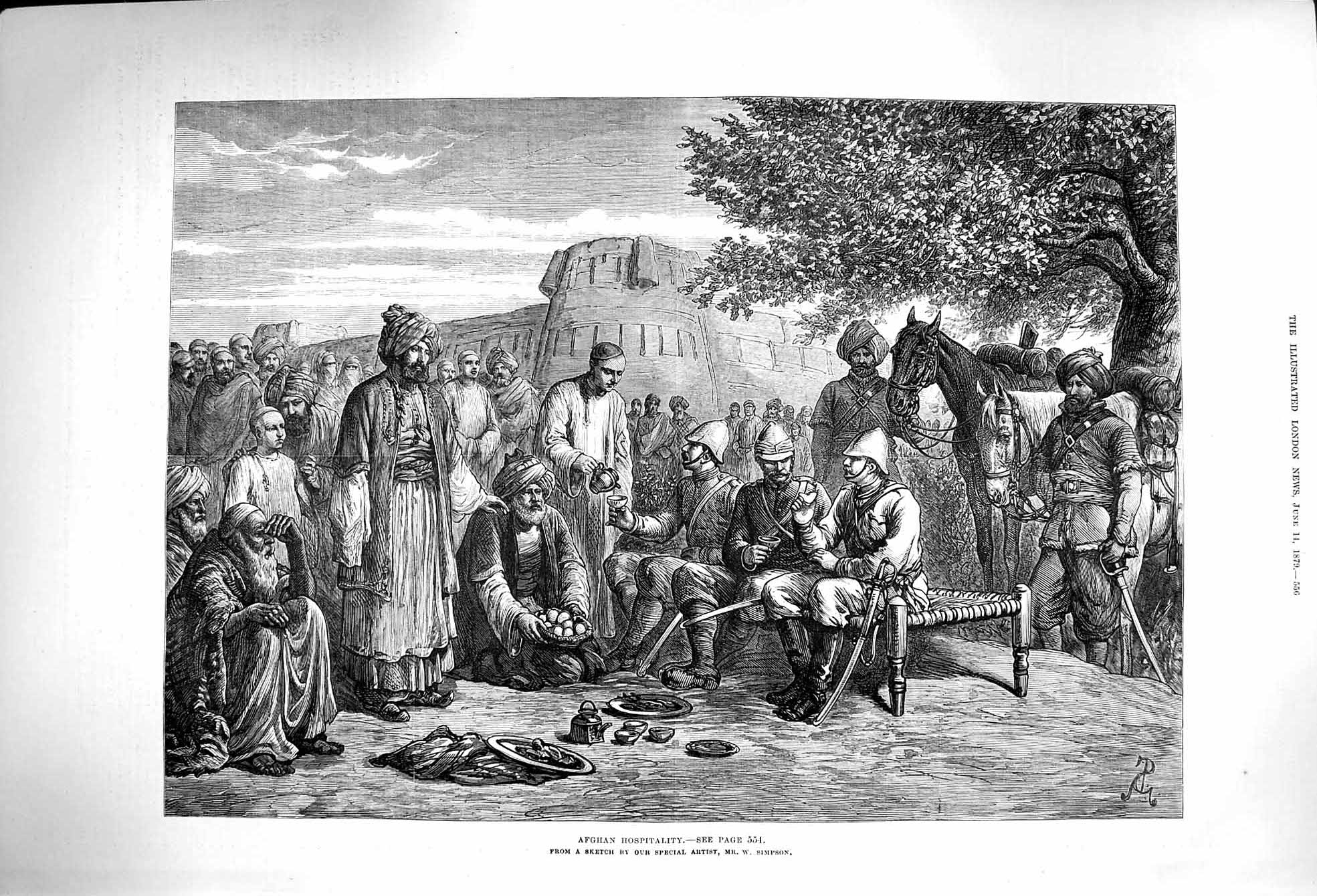 [Print 1879 Afghan Hospitality Soldiers War Horse Fine Art 556P174 Old Original]