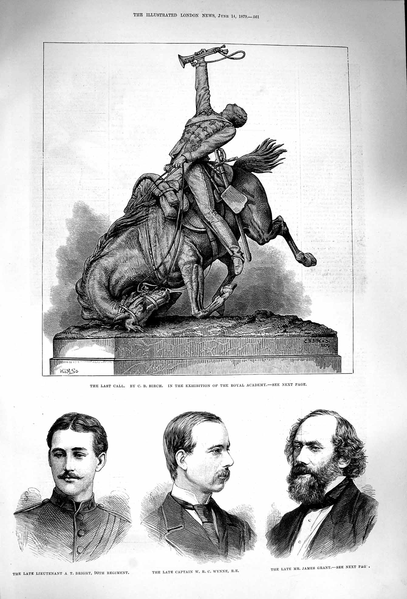 [Print 1879 Bright Wynne Grant War Statue Last Call Man Horse 561P174 Old Original]