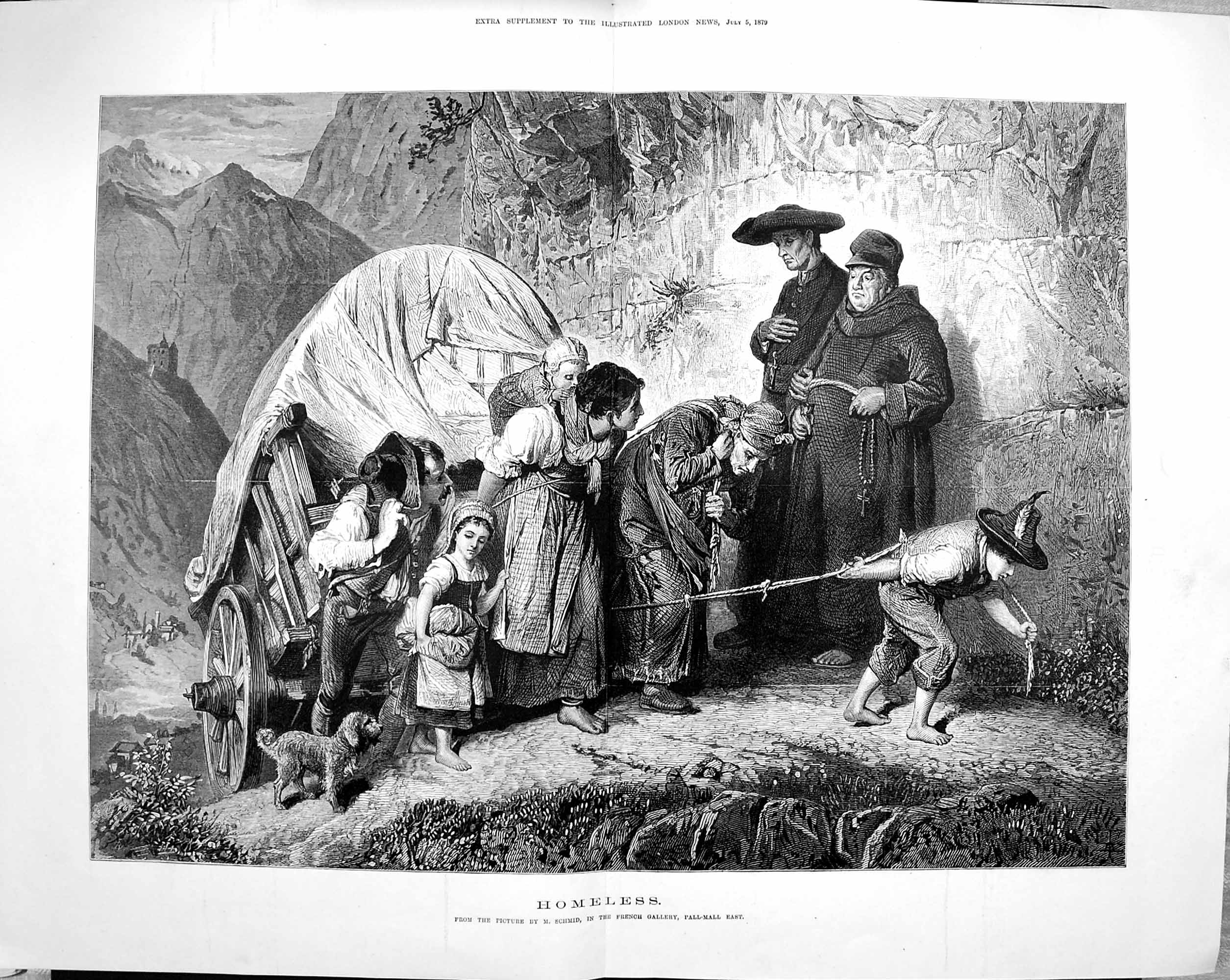 [Print 1879 Homeless Family Waggon Chldren Dog 015Tp175 Old Original]