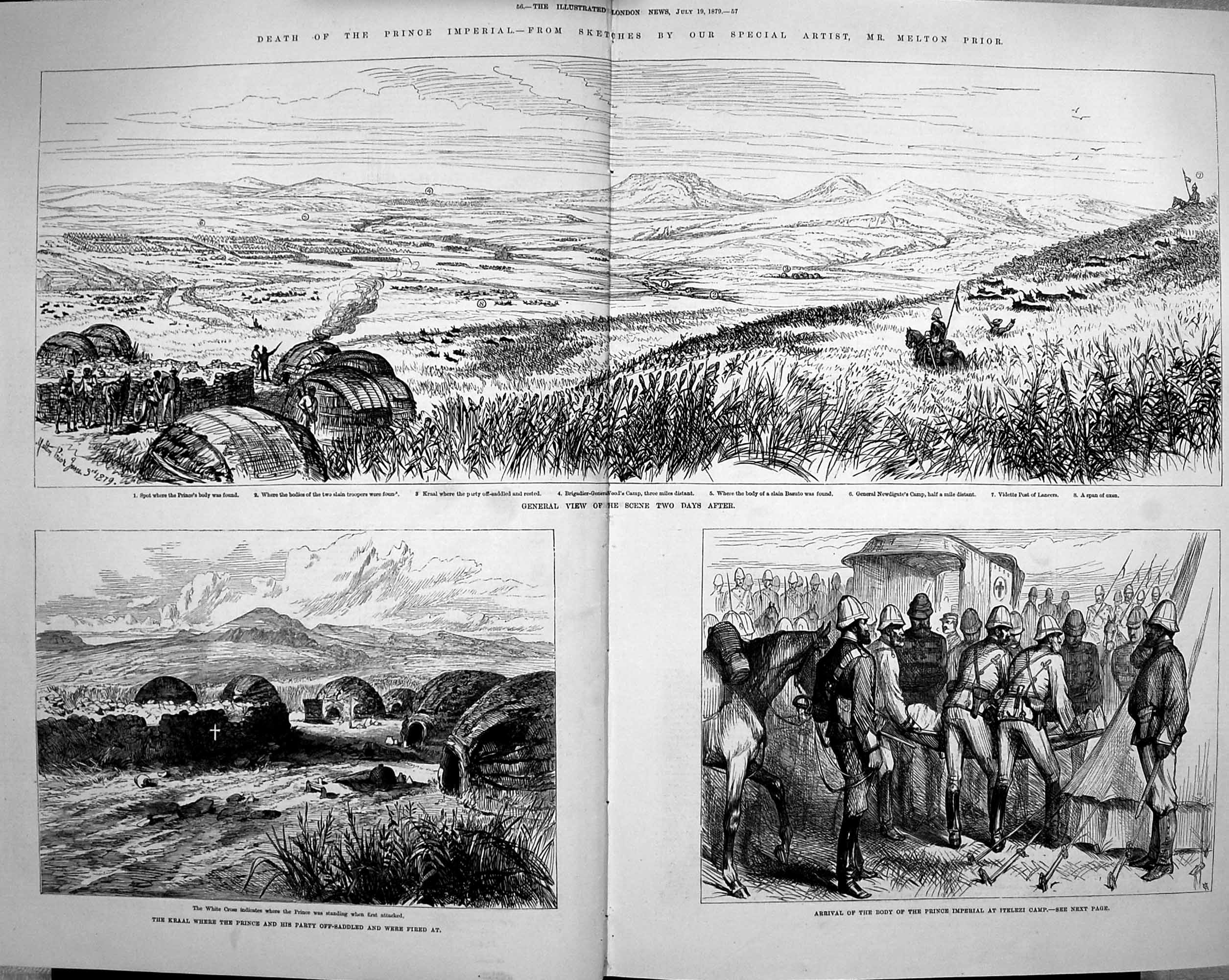 [Print 1879 Funeral Prince Imperial Woolwich Chiselhurst War 055Tp175 Old Original]