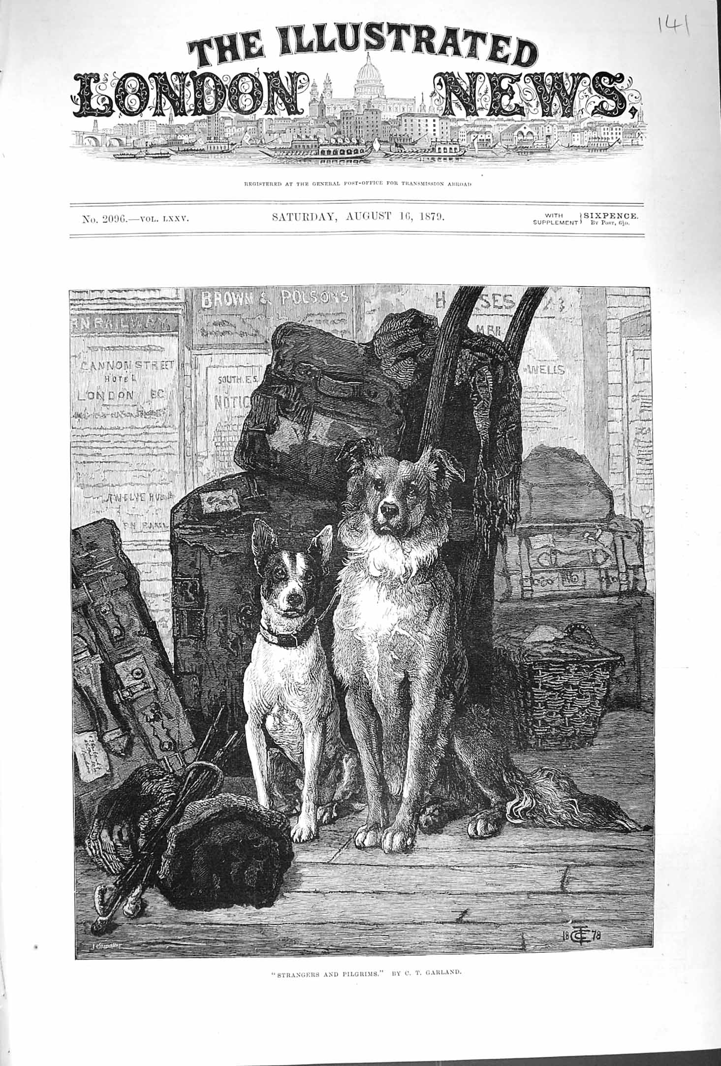[Print 1879 Strangers Pilgrims Pet Dogs Animals Fine Art 141P175 Old Original]