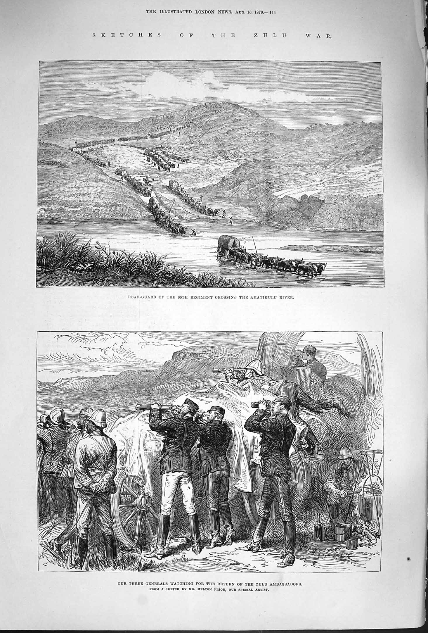 [Print 1879 Zulu War Amatikulu River British Generals Soldiers 144P175 Old Original]