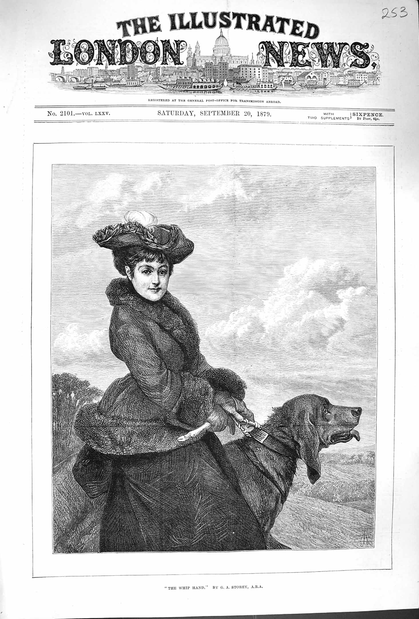 [Print 1879 Whip Hand Young Lady Big Hound Dog Fine Art 253P175 Old Original]