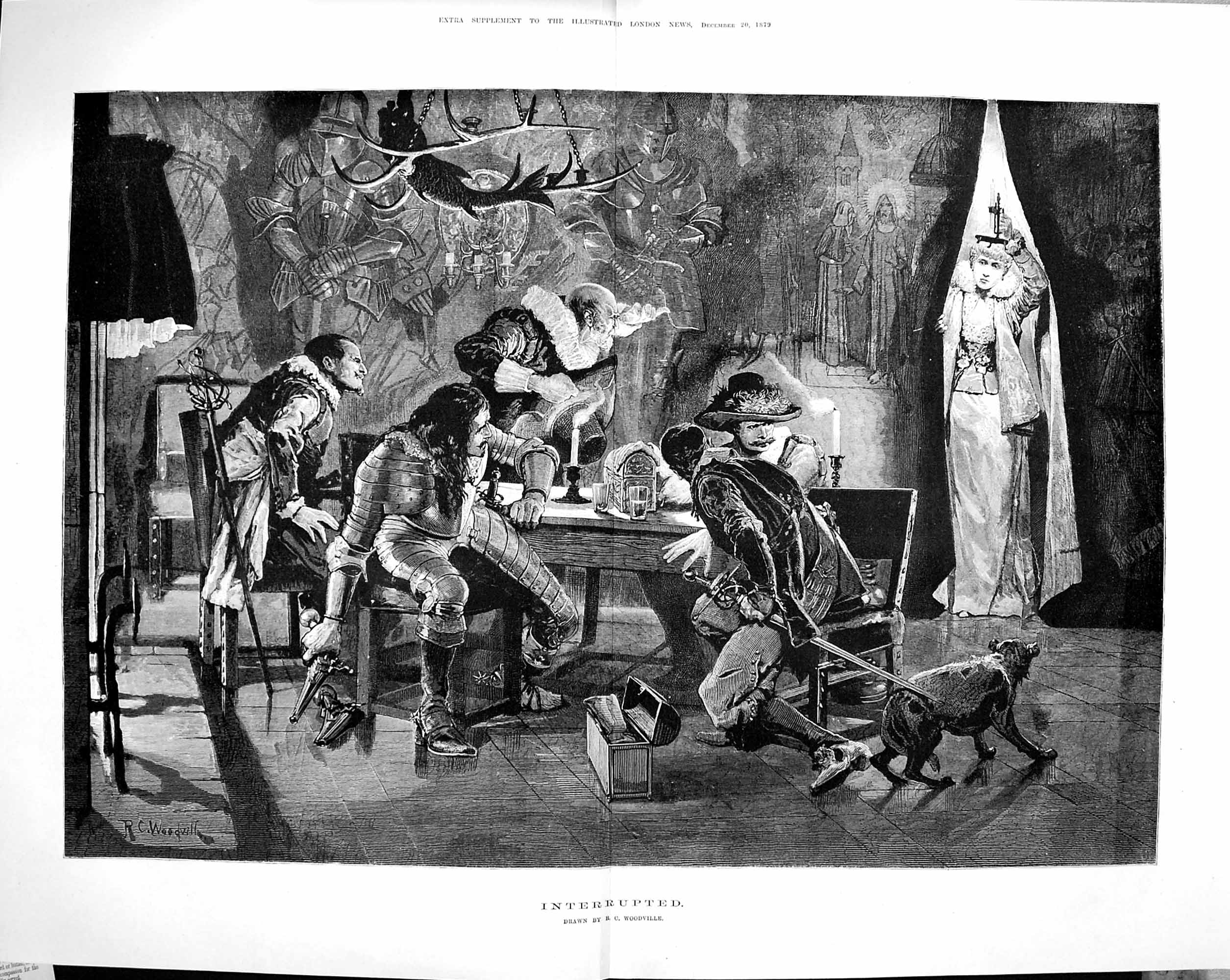 [Print 1879 Interrupted Men Meeting Swords Lady Candle Dog 578Tp175 Old Original]