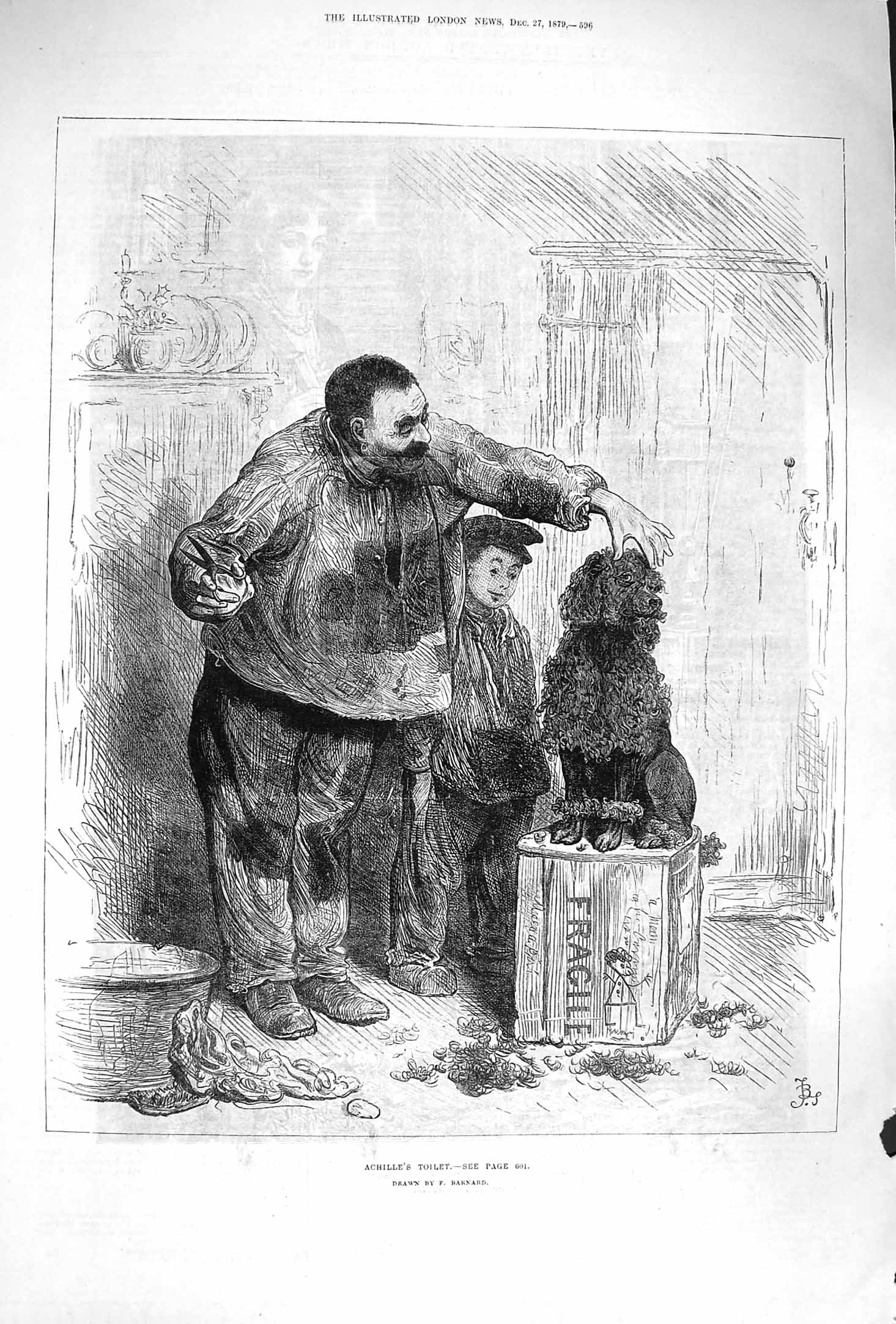 [Print 1879 Achille'S Toilet Man Pet Dog Poodle Groomer Print Old Original]
