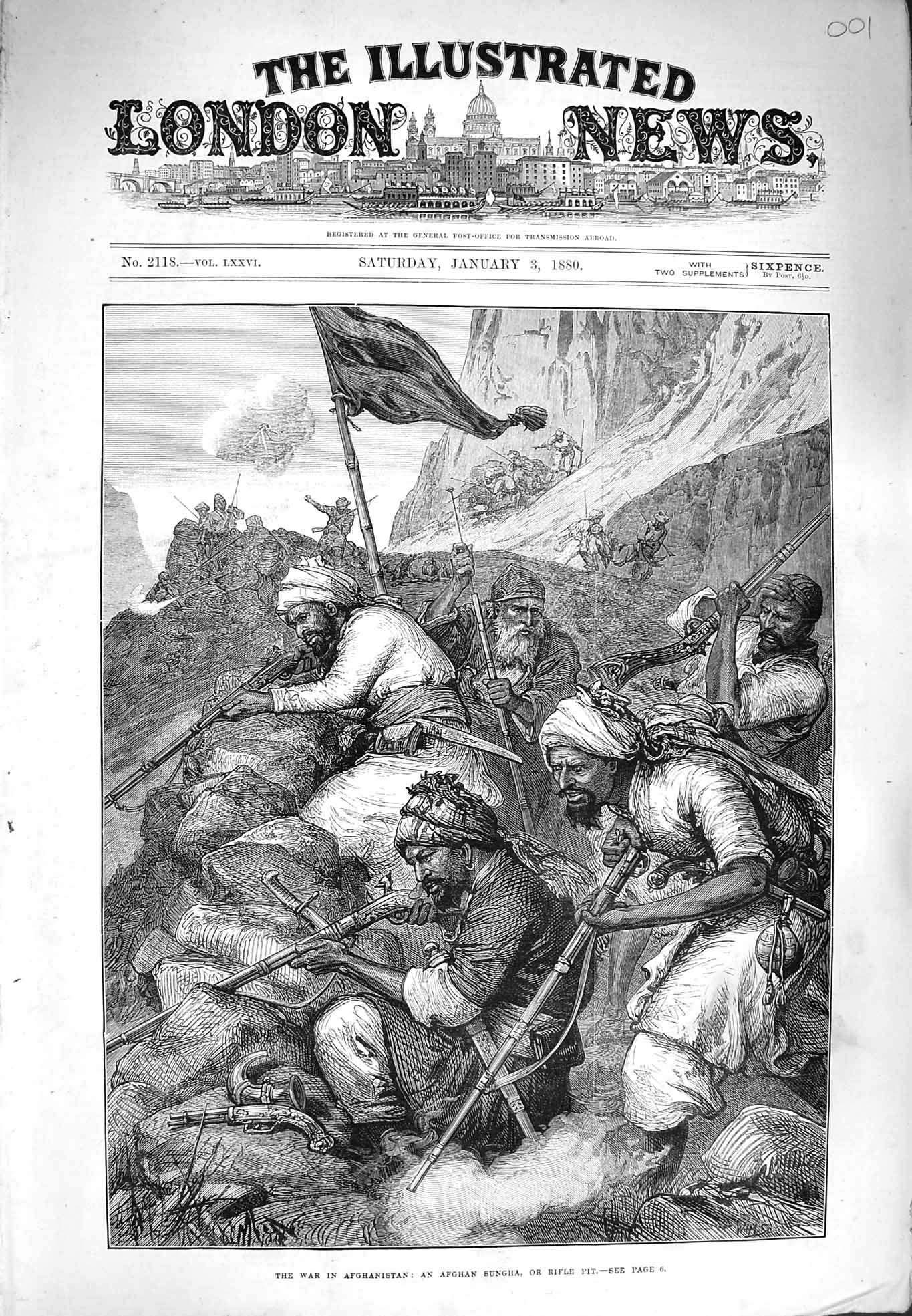 [Print 1880 War Afghanistan Afghan Sungha Rifle Pit Soldiers  Old Original]
