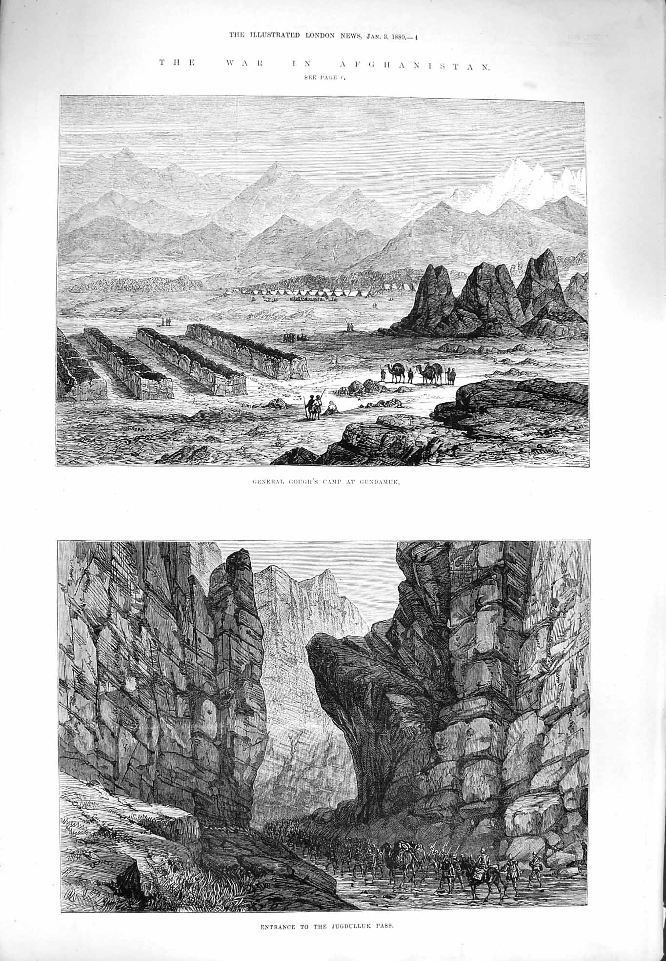 [Print 1880 War Afghanistan Jugdulluk Gough Camp Gundamuk 004P176 Old Original]