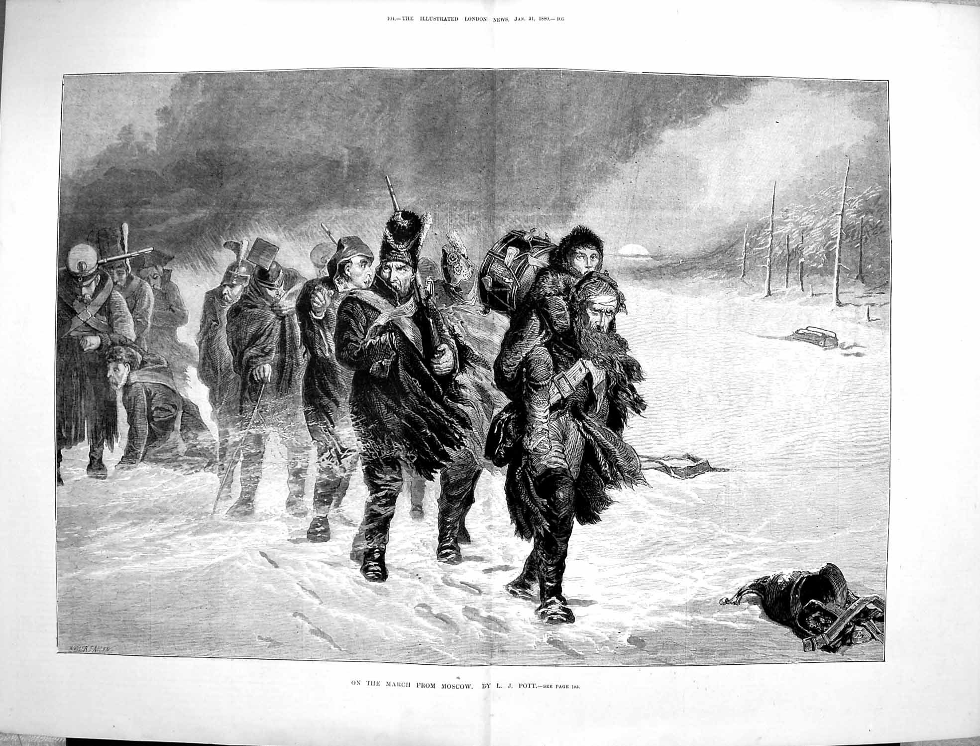 [Print 1880 Soldiers Marching Moscow Russia War Snow Winter 103Tp176 Old Original]