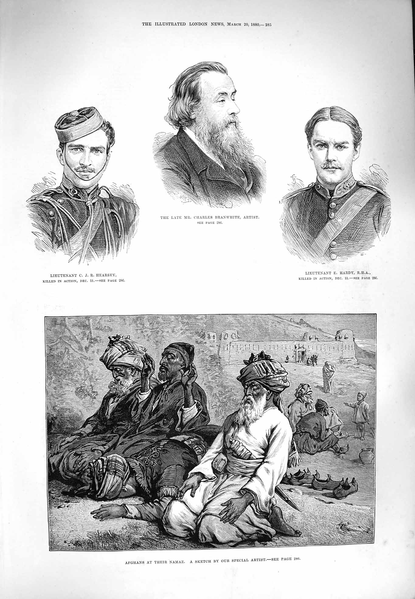 [Print 1880 Afghans Namaz Hearsey Branwhite Hardy War Men 285P176 Old Original]