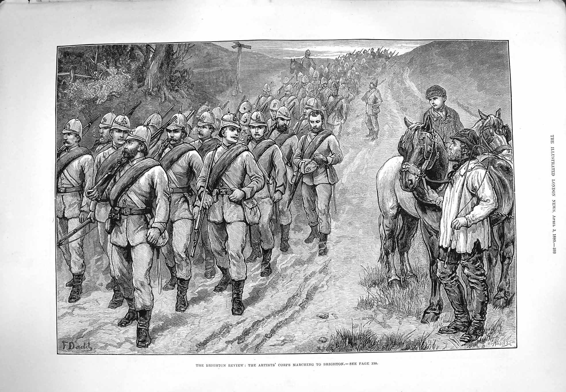 [Print 1880 Brighton Review War Soldiers Corps Marching 333P176 Old Original]