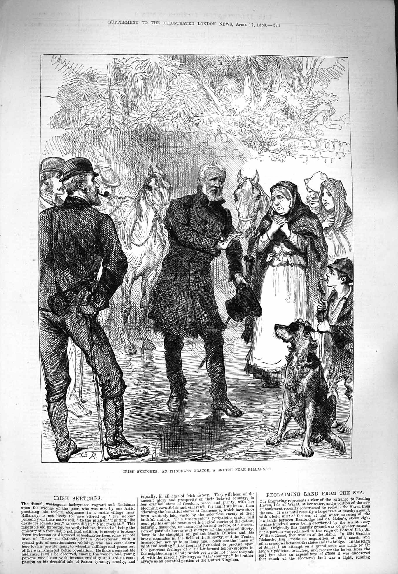 [Print 1880 Ireland Itinerant Orator Man Dog Killarney 377P176 Old Original]