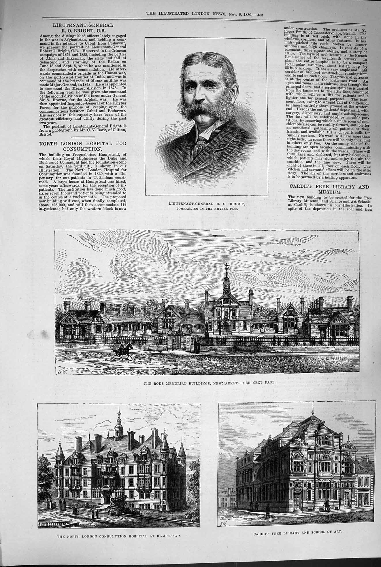 [Print 1880 Bright Rous Newmarket Hospital Library School Art 453P177 Old Original]