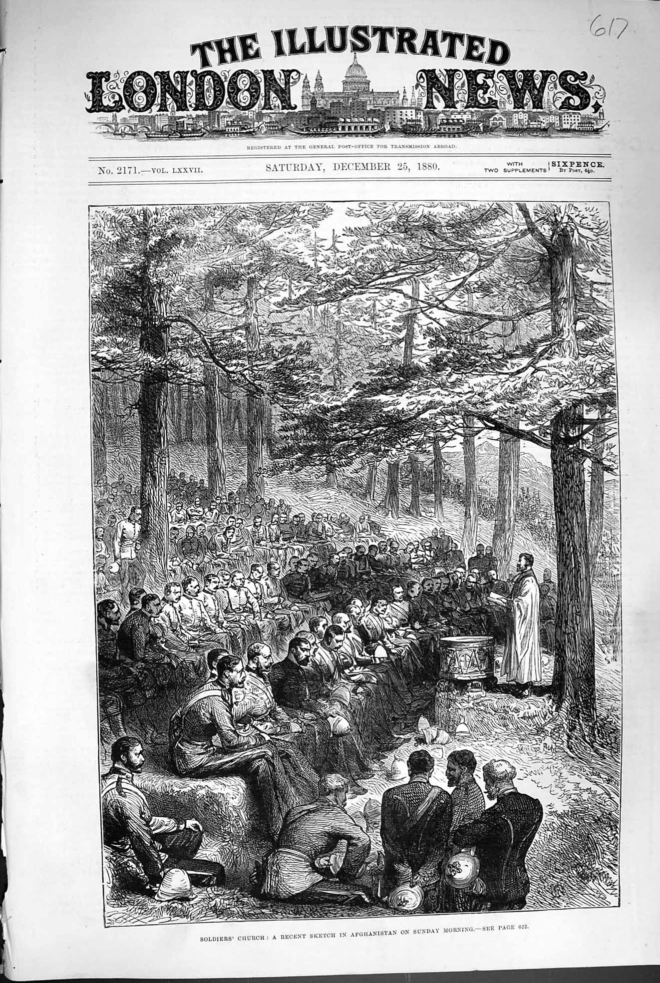 [Print 1880 Soldiers Sunday Church Service Afghanistan War 617P177 Old Original]
