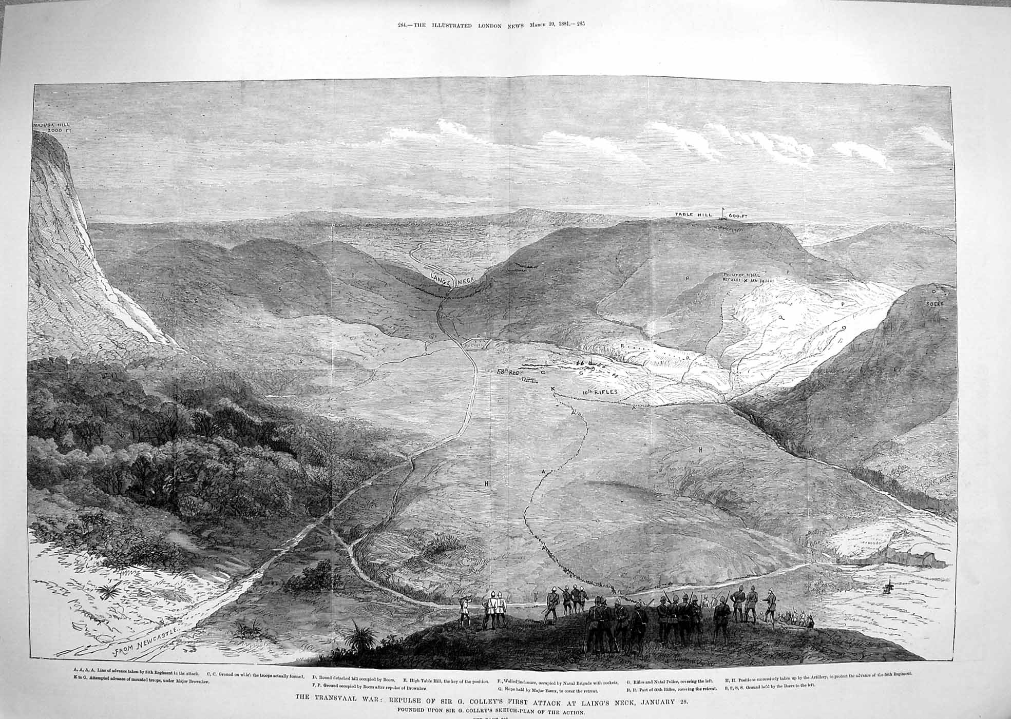 [Print 1881 Transvaal War Colley Laing'S Neck Boers Mountains 283Tp178 Old Original]