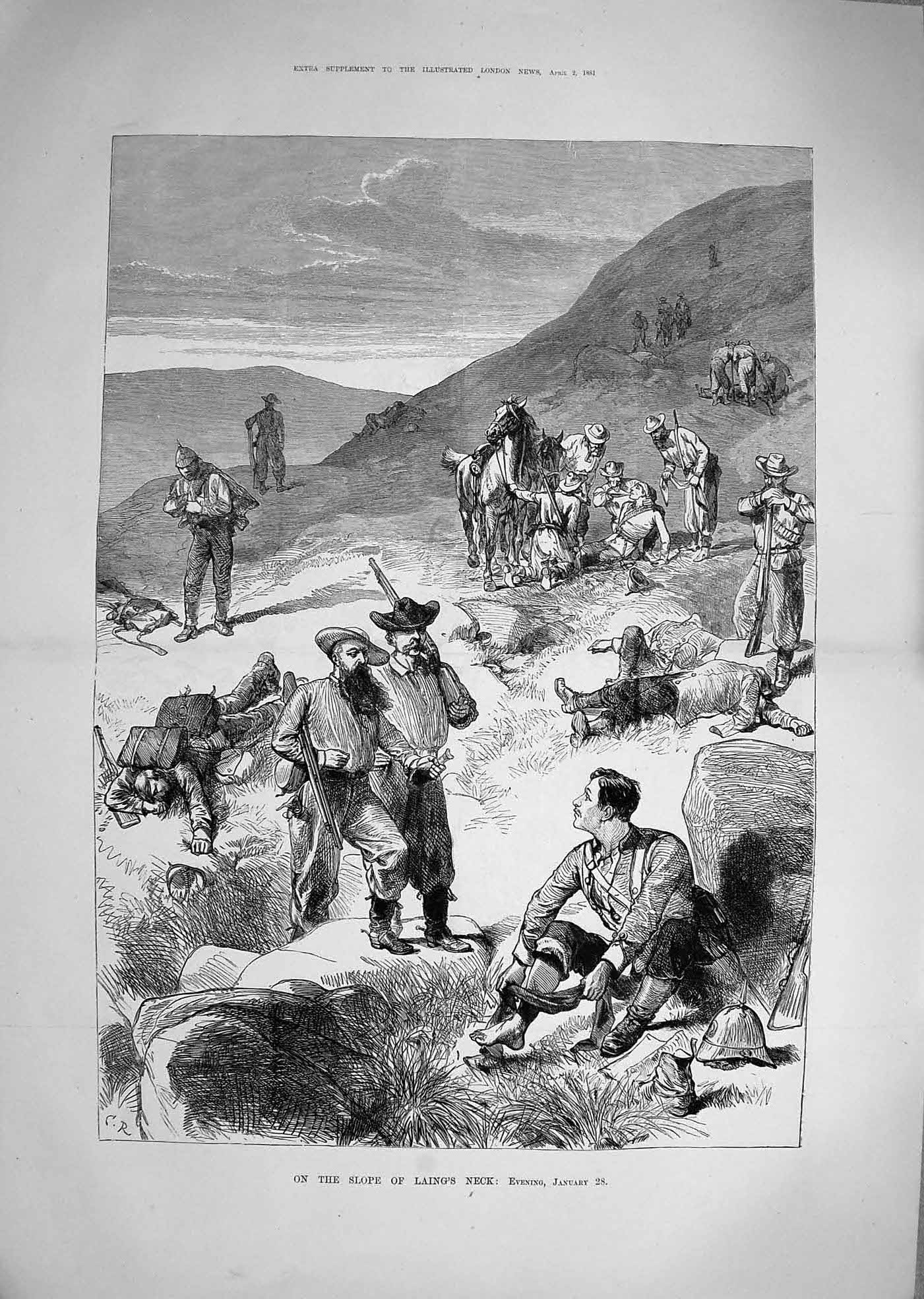 [Print 1881 Transvaal War Soldiers Laing'S Neck Mountains 328Tp178 Old Original]