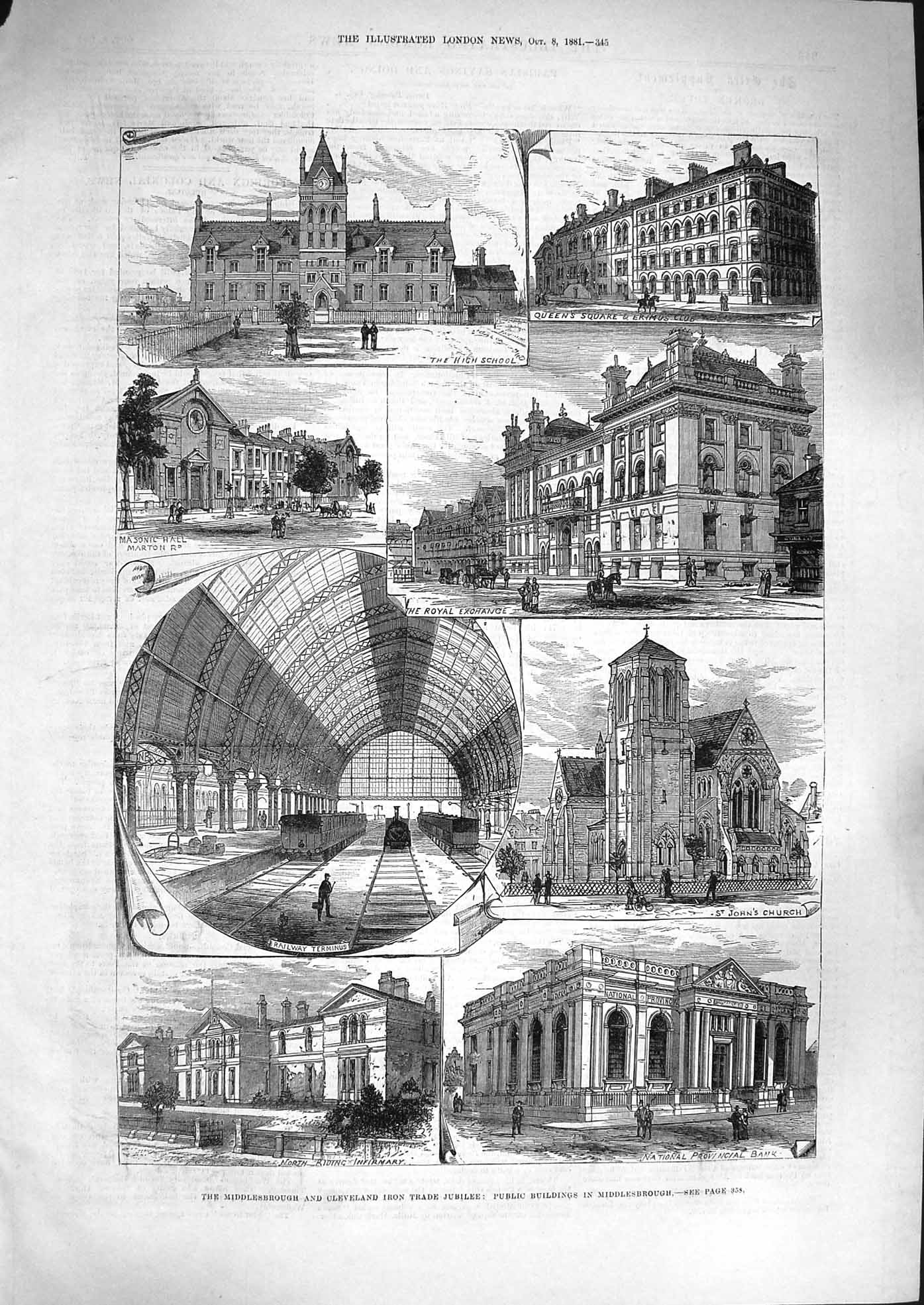[Print 1881 Middlesborough Railway Royal Exchange Hospital 345P179 Old Original]