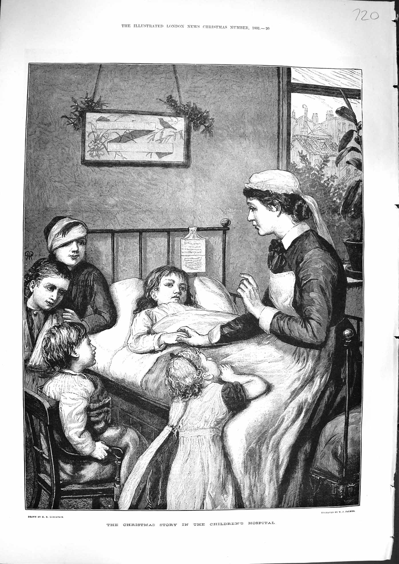 [Print 1881 Christmas Story Childrens Hospital Ward Nurse 720P179 Old Original]