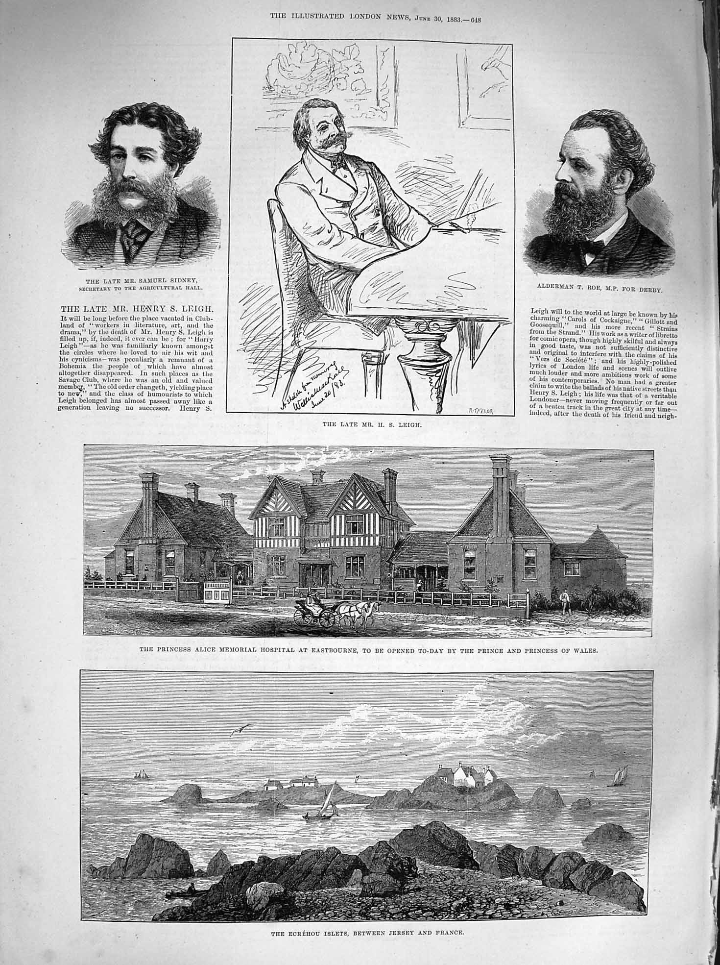 [Print 1883 Ecrehou Islets Alice Hospital Leigh Sidney Roe Old Original]