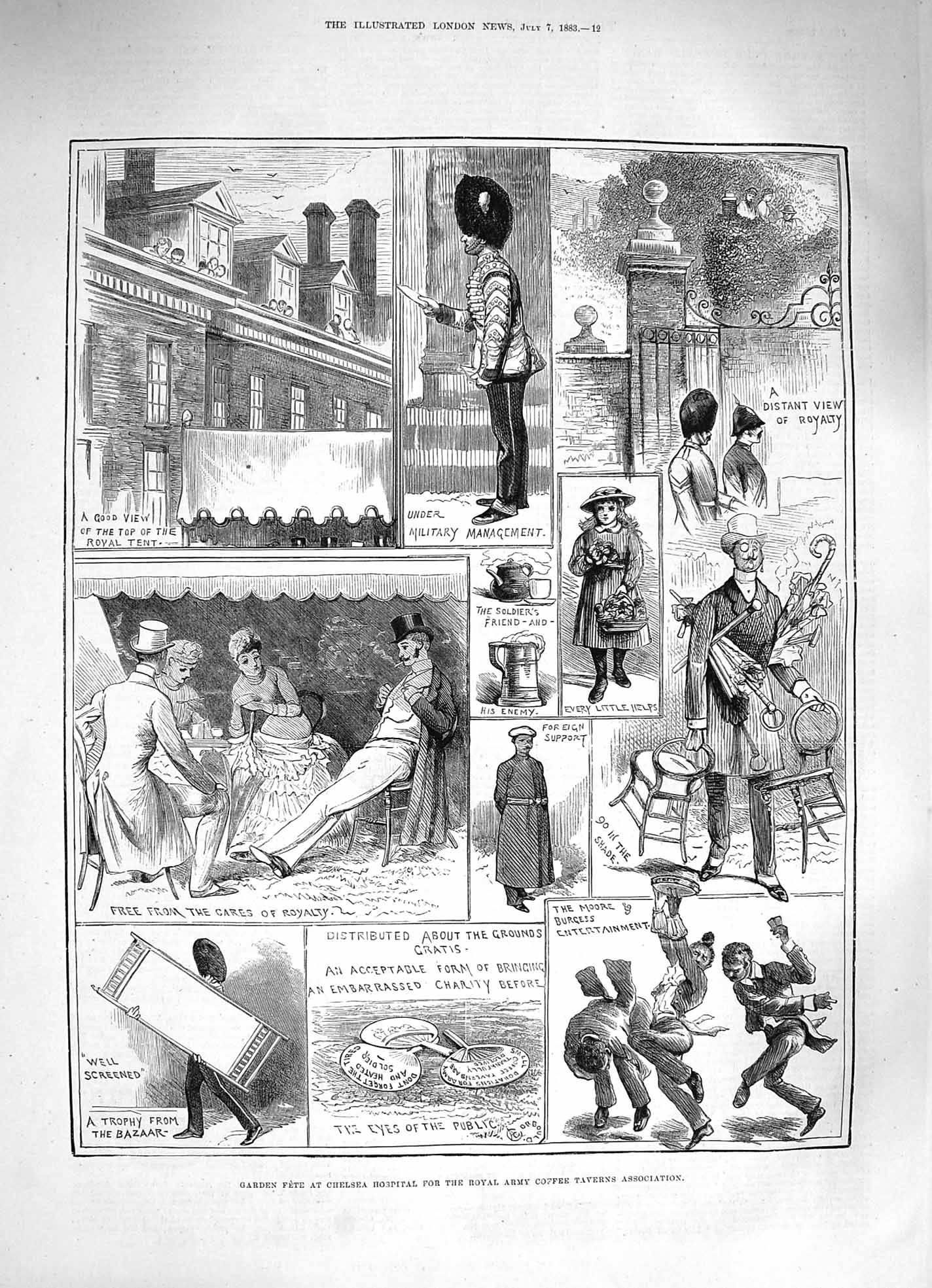 [Print *3356 1883 Garden Fete Chelsea Hospital Army Coffee Taverns 012P183 Old Original]