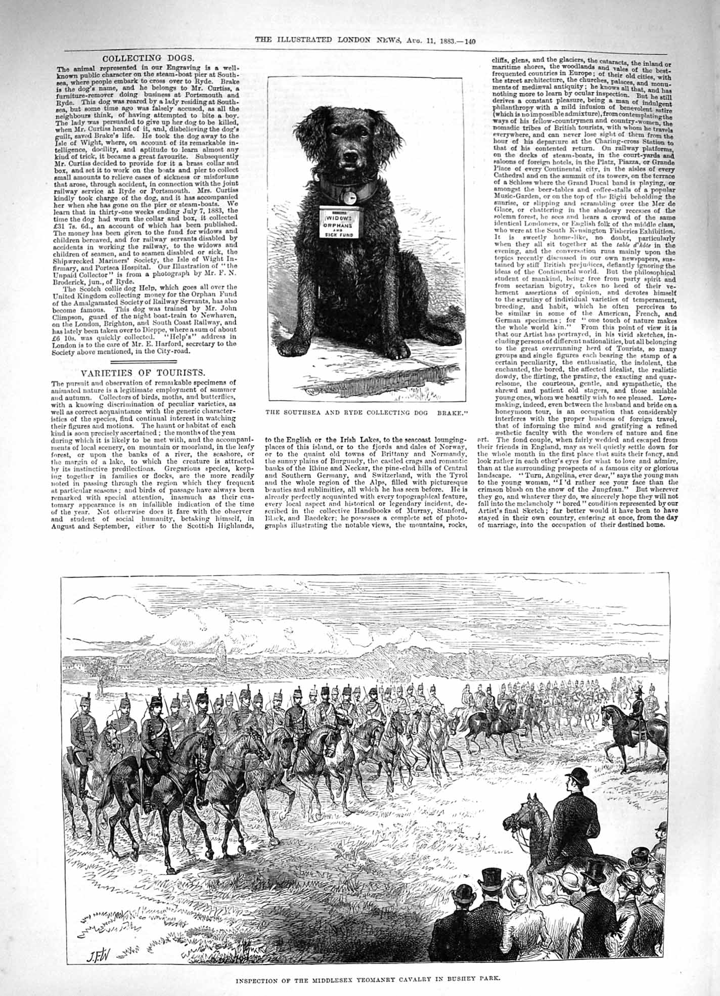 [Print 1883 Ryde Collecting Dog Brake Middlesex Yeomanry Park 140P183 Old Original]