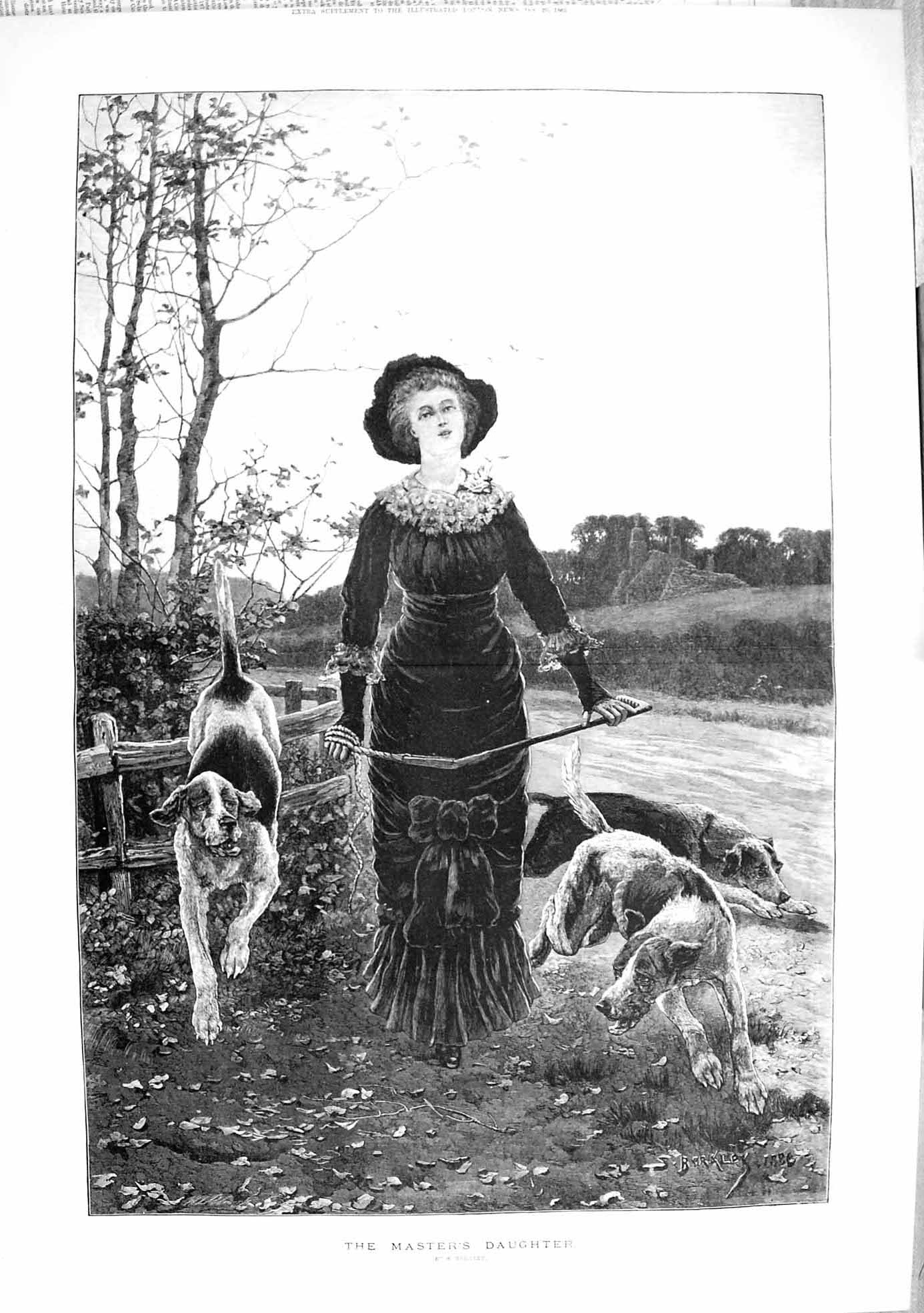 [Print 1883 Masters Daughter Hunting Dogs Young Woman Fine Art 376Tp183 Old Original]