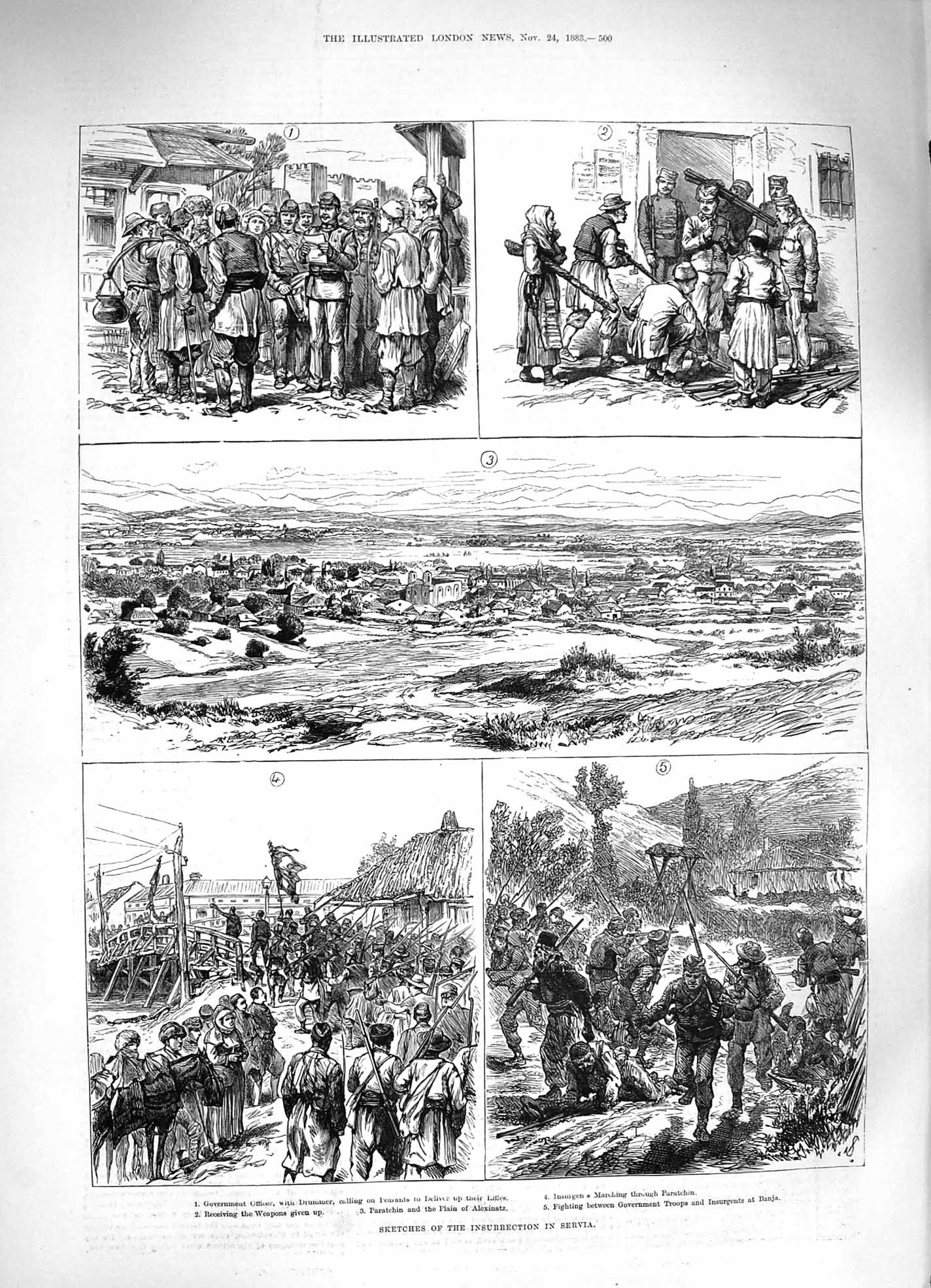 [Print 1883 Insurrection Servia Government Officer Weapons War 500P183 Old Original]