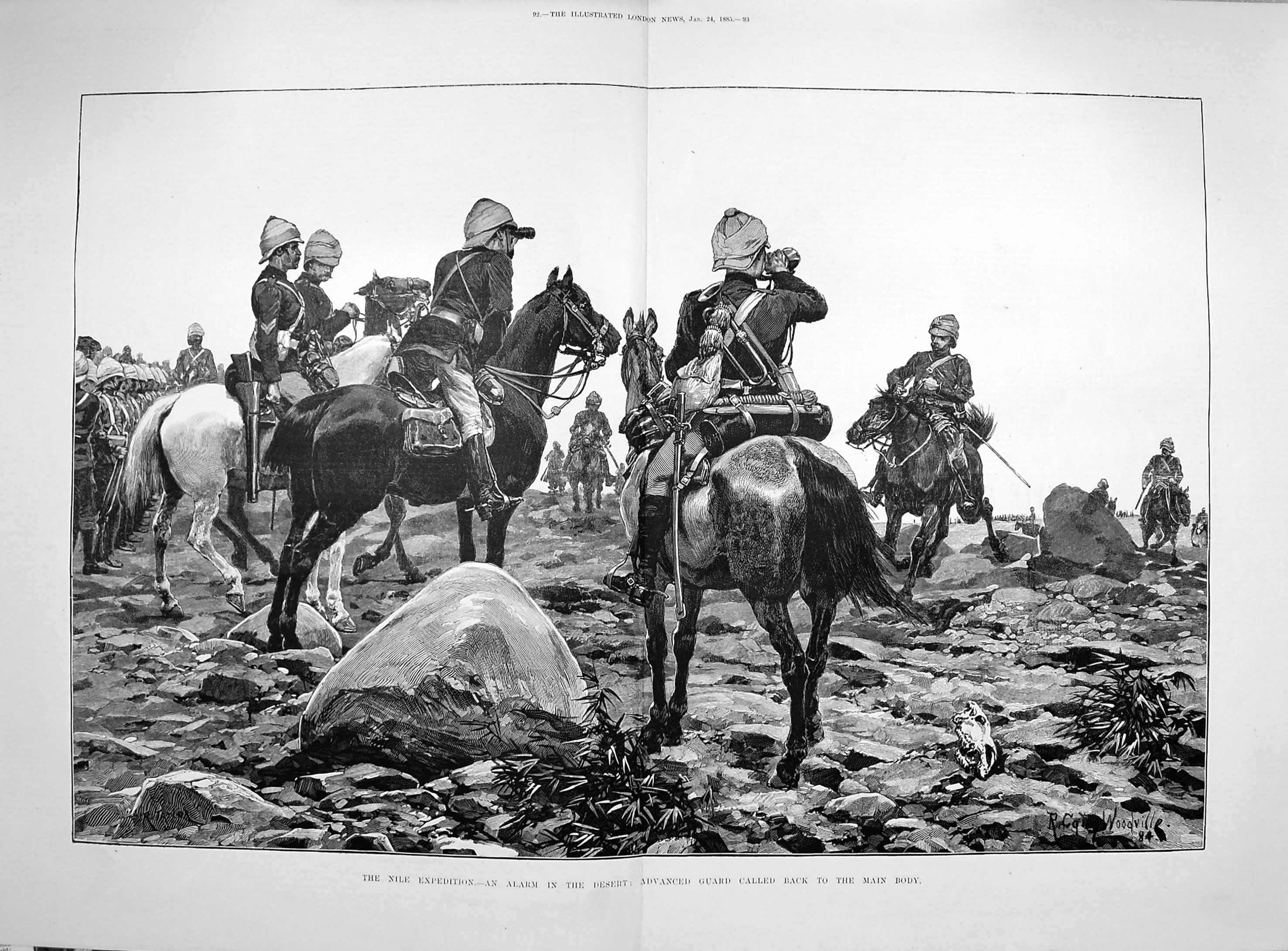 [Print 1885 Nile Expedition Desert Advanced Guard Soldiers War  Old Original]