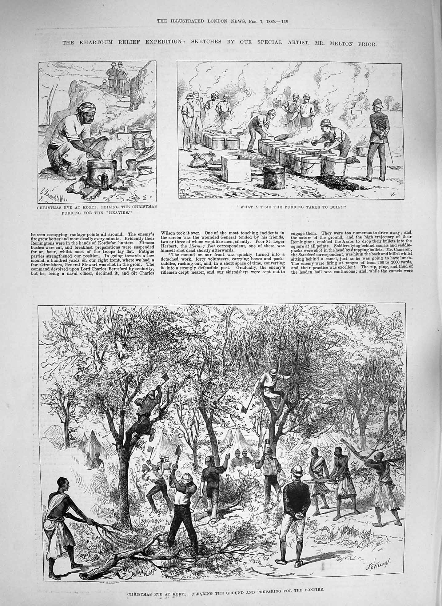 [Print 1885 Christmas Korti Khartoum Kitchener Black Watch War 138P186 Old Original]
