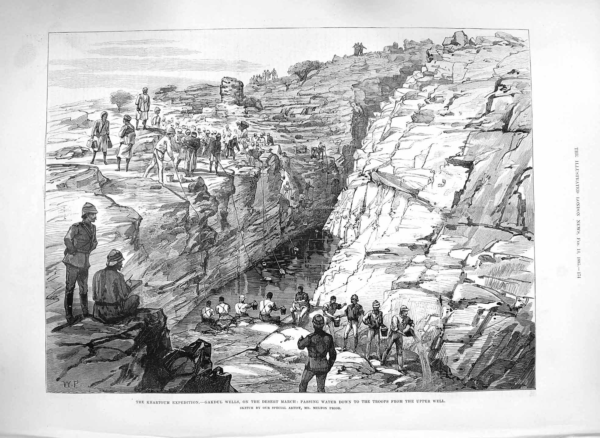[Print 1885 Khartoum Expedition Gakdul Wells Desert March War 174P186 Old Original]