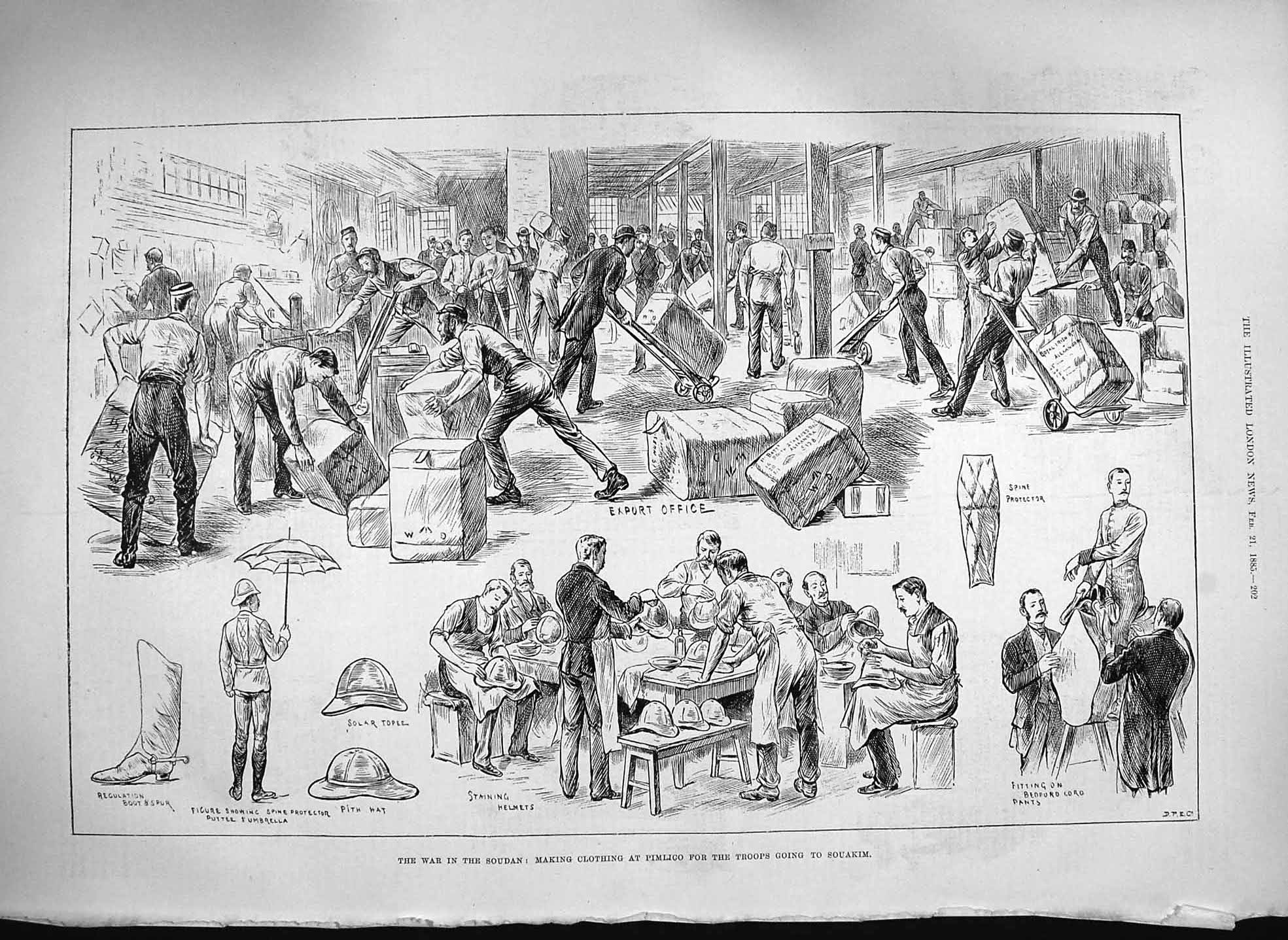 [Print 1885 War Soudan Making Clothing Pimlico Souakim Troops 202P186 Old Original]