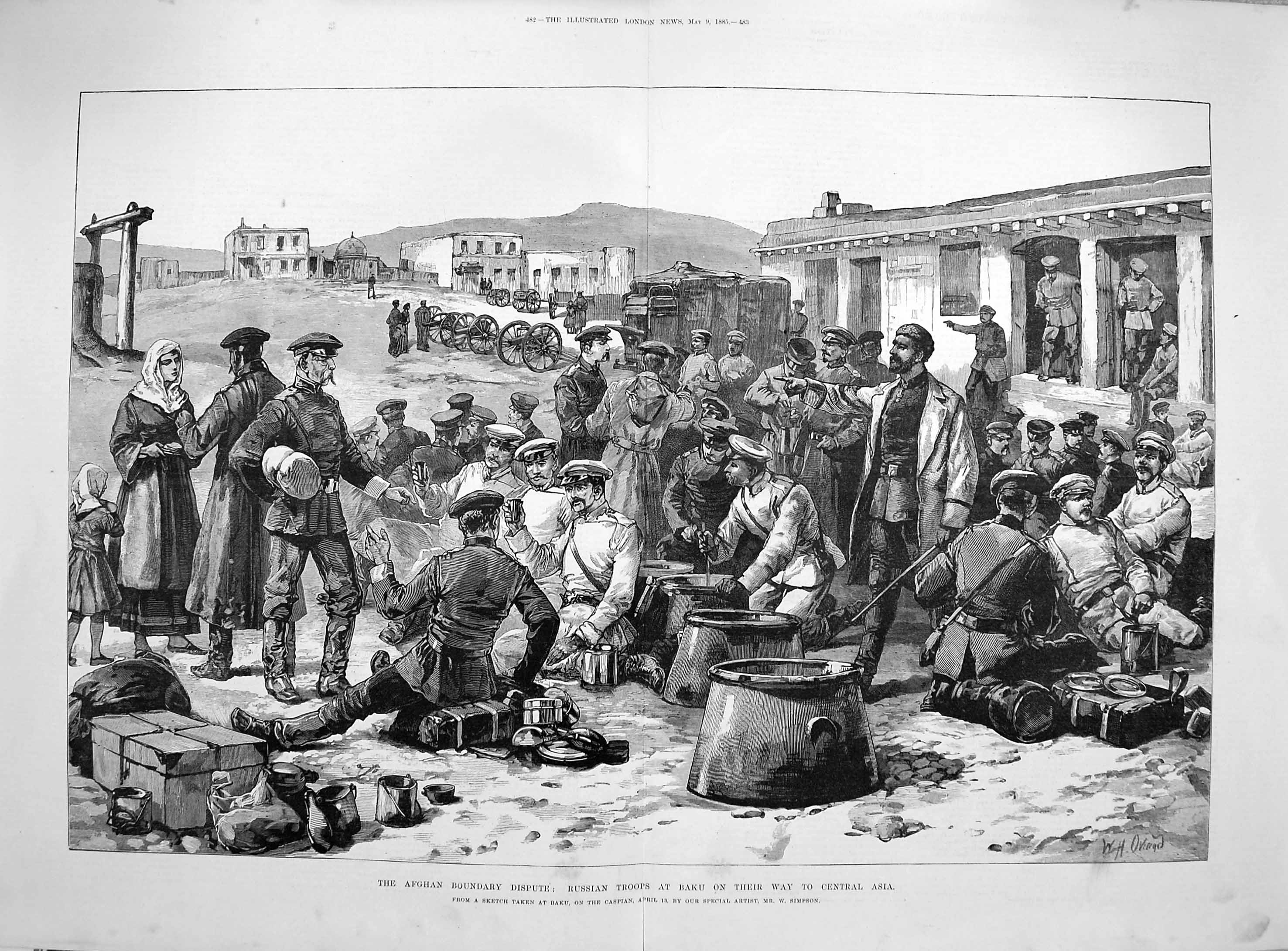 [Print 1885 Afghan Russian Troops Baku Central Asia War Army  Old Original]