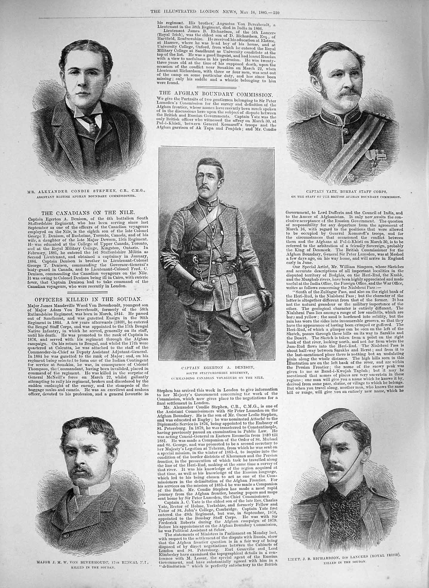 [Print 1885 War Denison Richardson Beverhoudt Stephen Yate 510P186 Old Original]