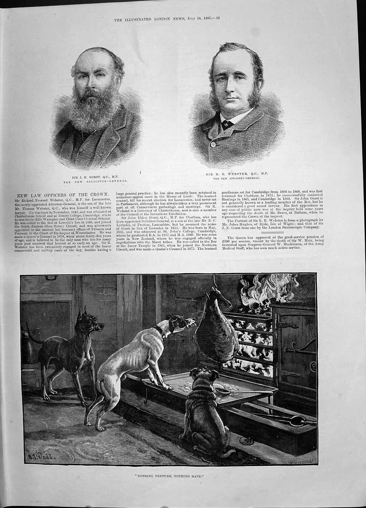 [Print 1885 Gorst Solicitor-General Webster Attorney-General Puppy Dogs 053P187 Old Original]