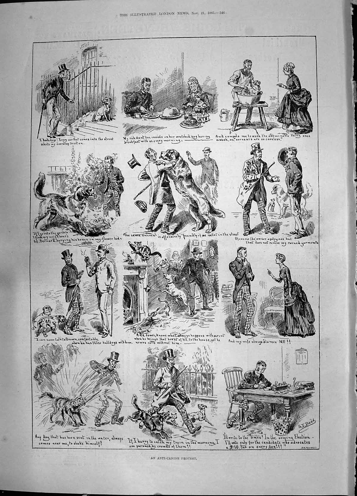 [Print 1885 Anti-Canine Protest Dogs Illustration Story 546P187 Old Original]
