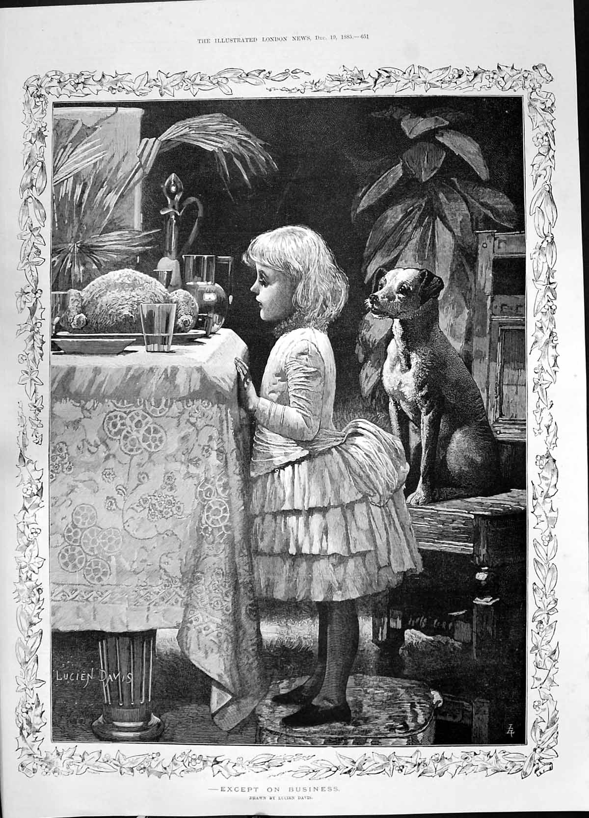 [Print 1885 Young Girl Puppy Dog Dinner Table Food Lucien Davis 651P187 Old Original]