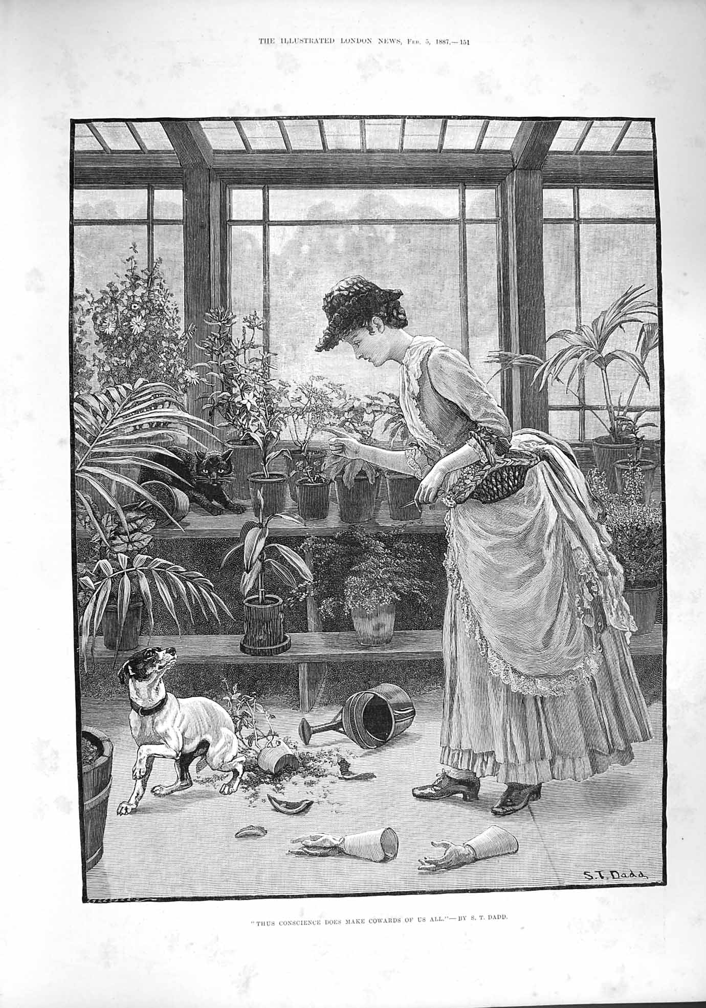 [Print 1887 Lady Green House Dog Pots Mess Watering Can 151P190 Old Original]