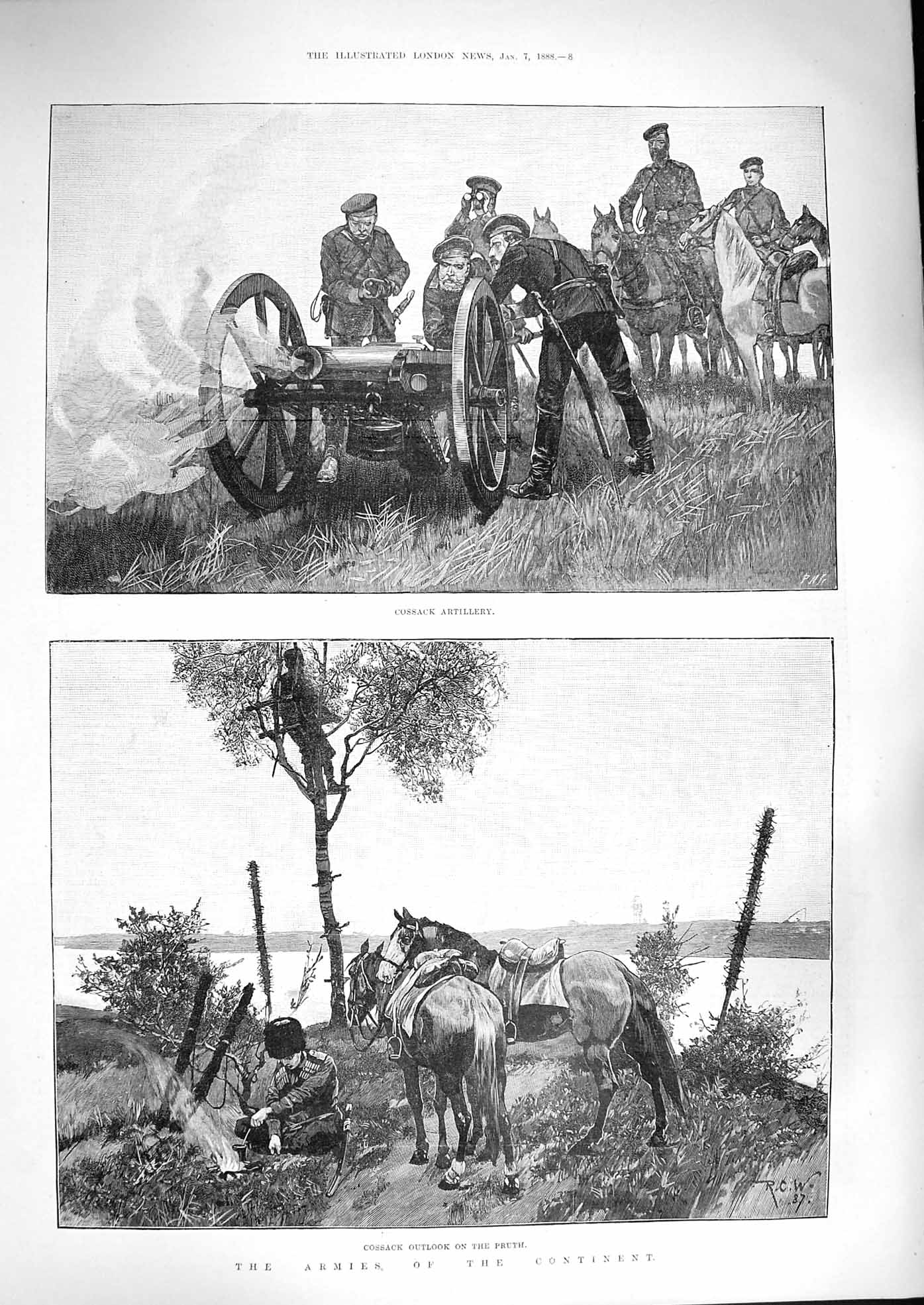 [Print 1888 Soldiers War Cossack Artillery Pruth Horses 008P192 Old Original]
