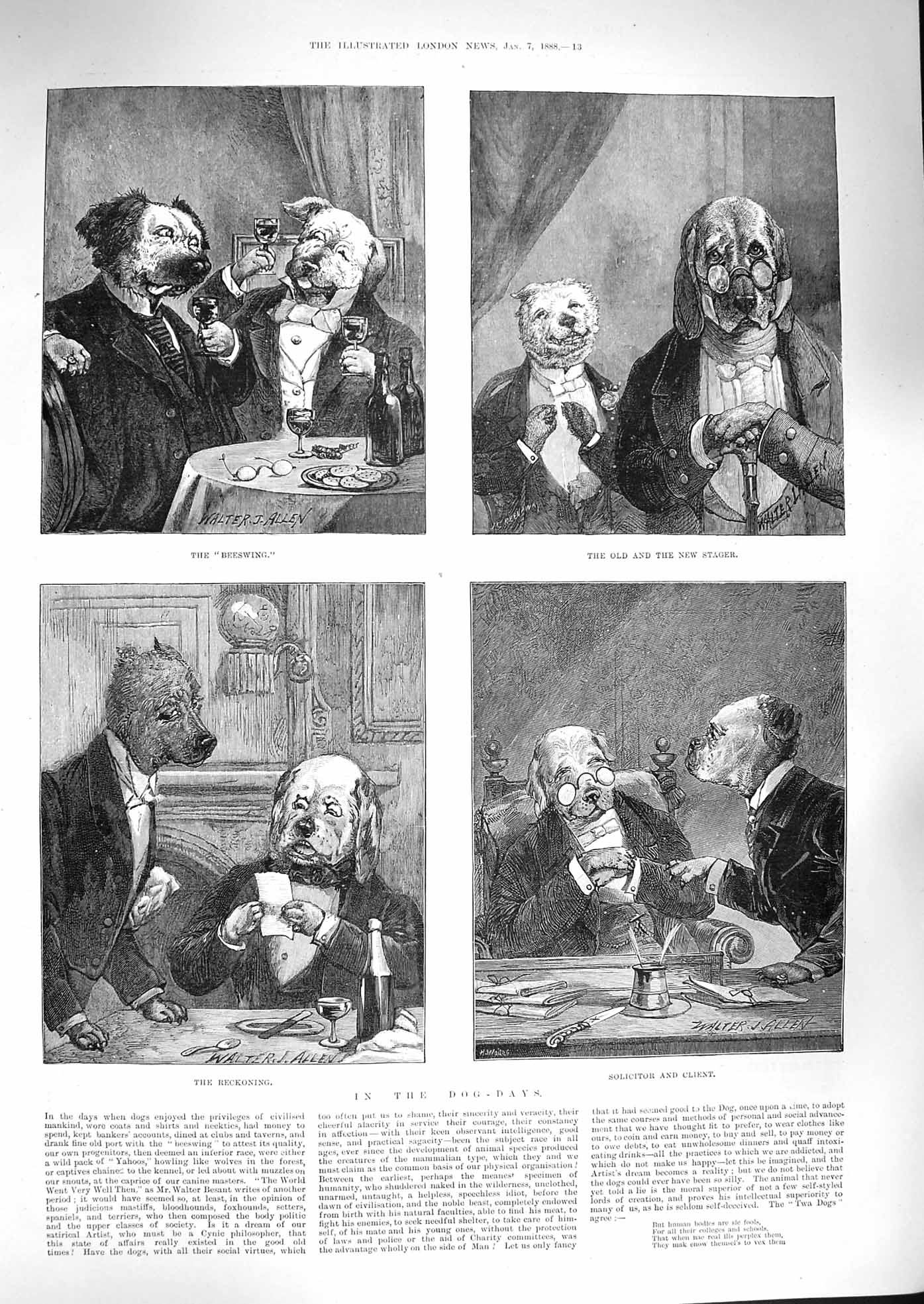 [Print 1888 Dog Days Comedy Solicitor Client Stager Drinking 013P192 Old Original]