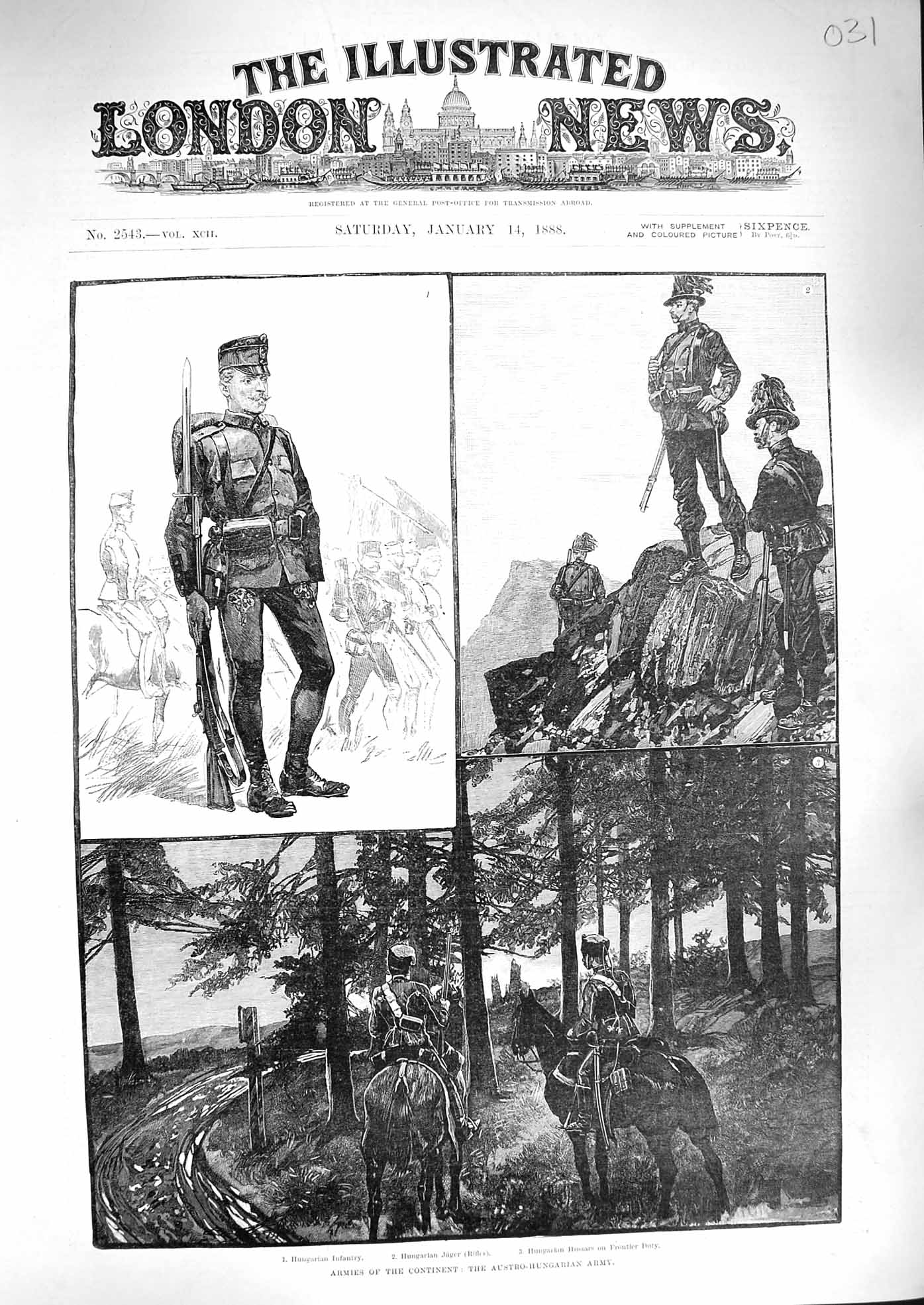 [Print 1888 Austro-Hungarian Army Jager Hussars Soldiers War 031P192 Old Original]