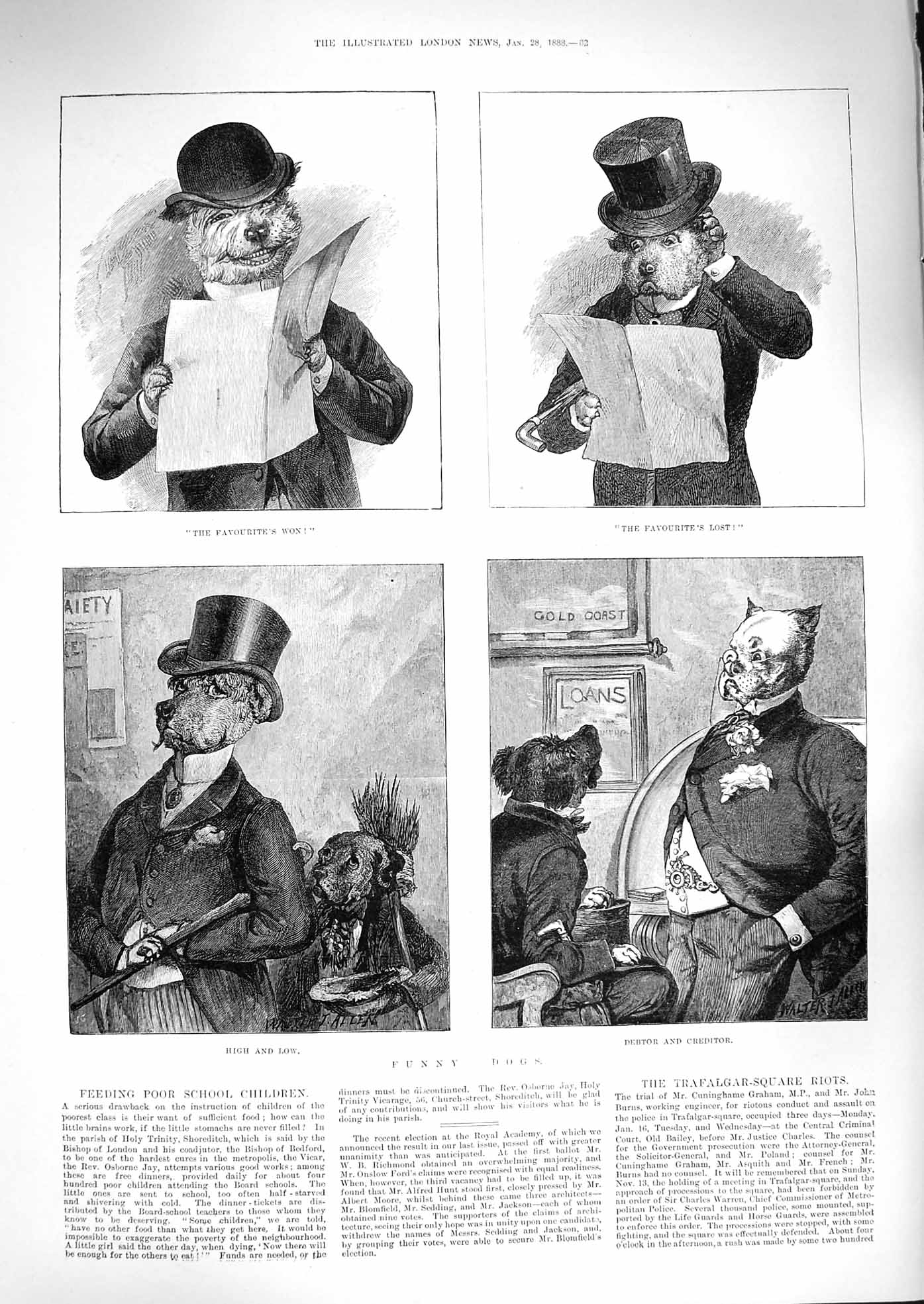 [Print 1888 Funny Dogs Debtor Creditor Costumes Top Hats 082P192 Old Original]