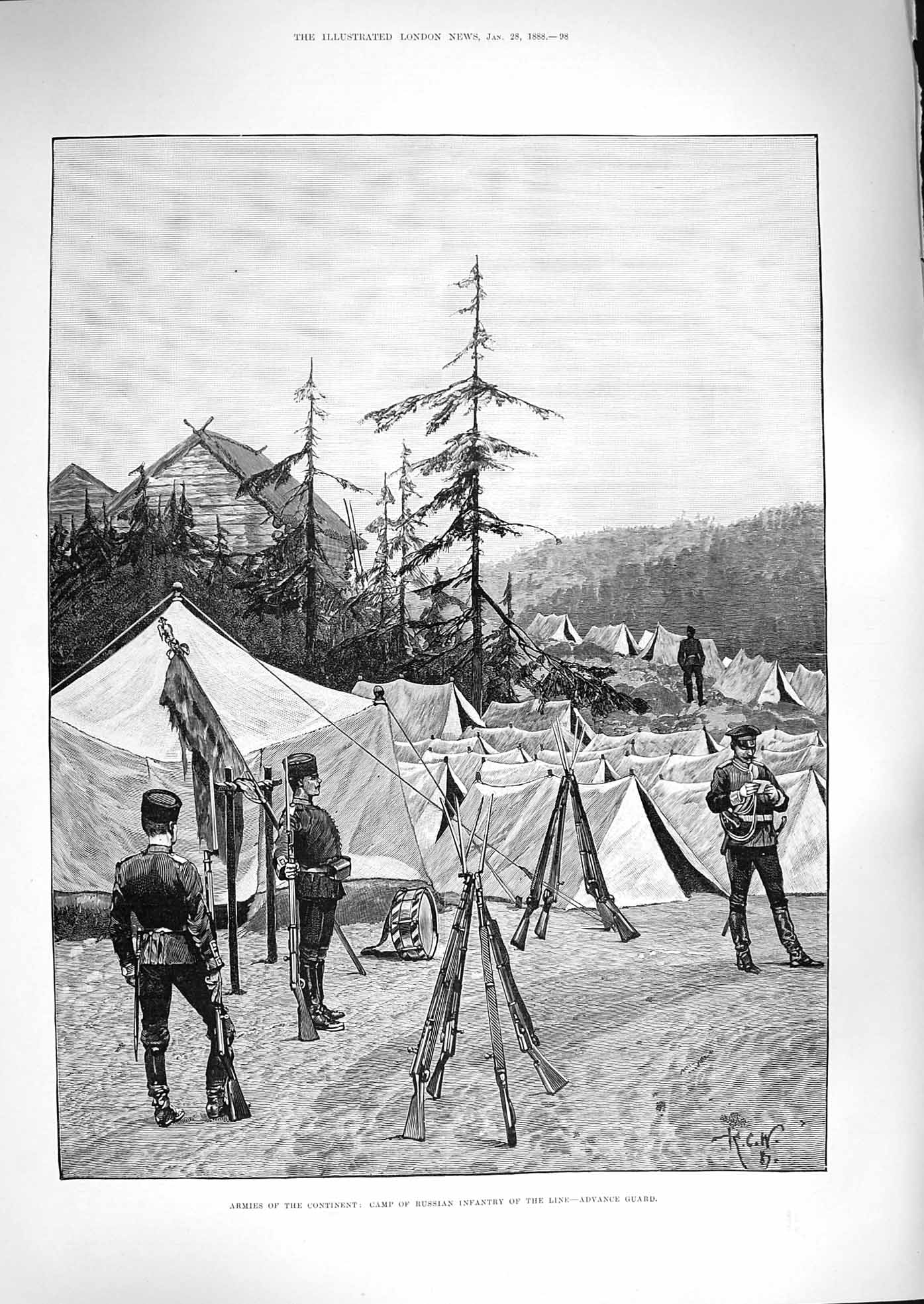 [Print 1888 Camp Russian Soldiers War Advance Guard Tents 098P192 Old Original]