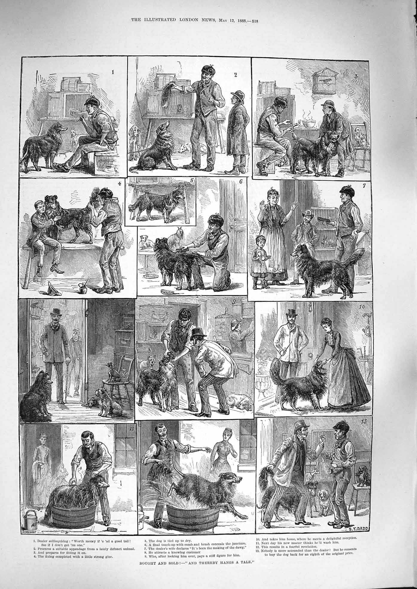[Print 1888 Bought SThereby Hangs Tale Dog Sale 518P192 Old Original]