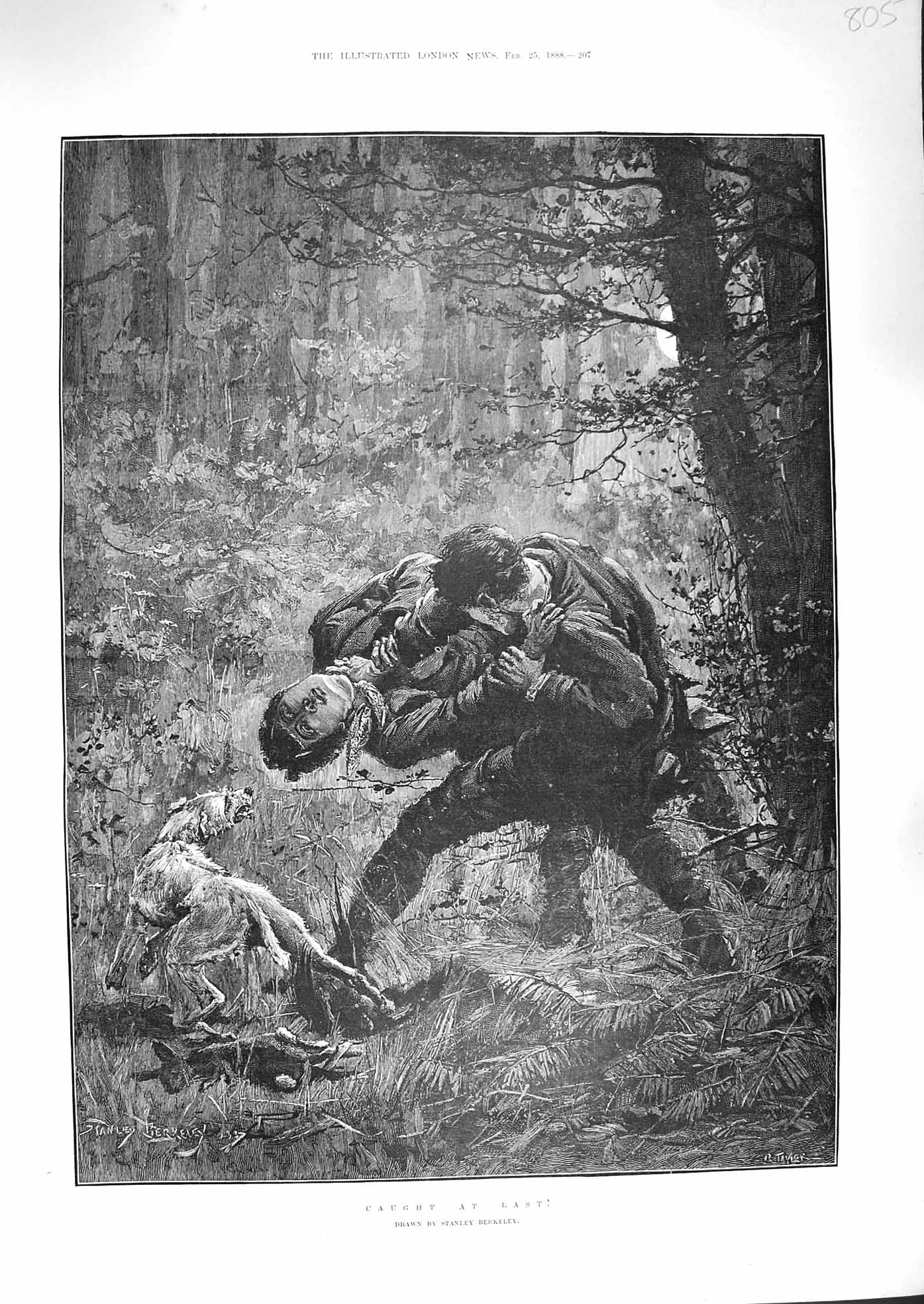 [Print 1888 Caught At Last Men Fighting Forest Dog Fine Art 805P192 Old Original]