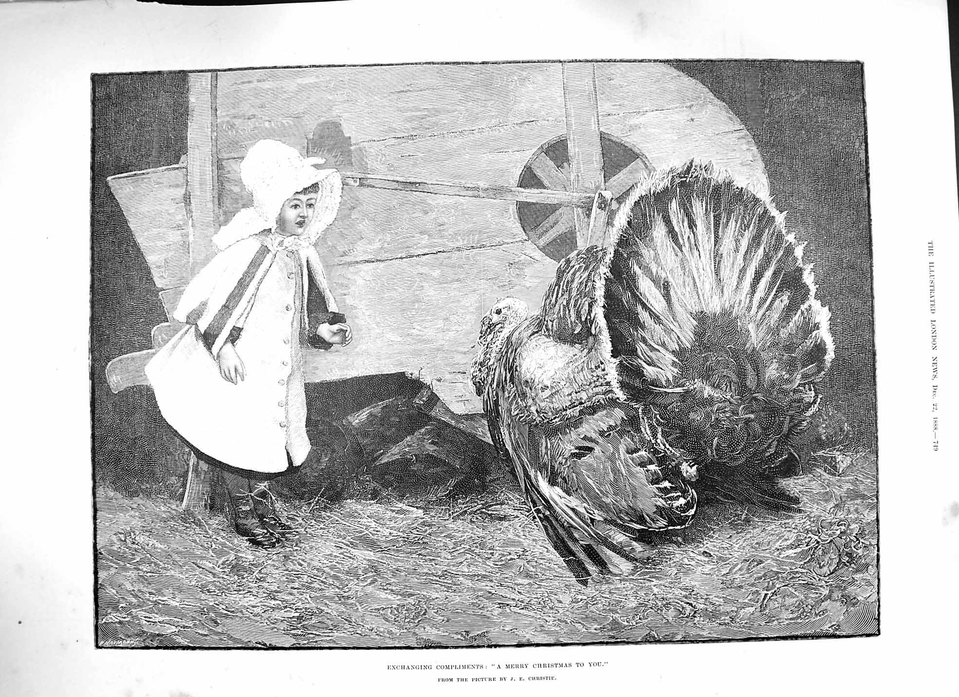 Print 1888 Merry Christmas Turkey Little Girl Fine Art 749P193 Old Original