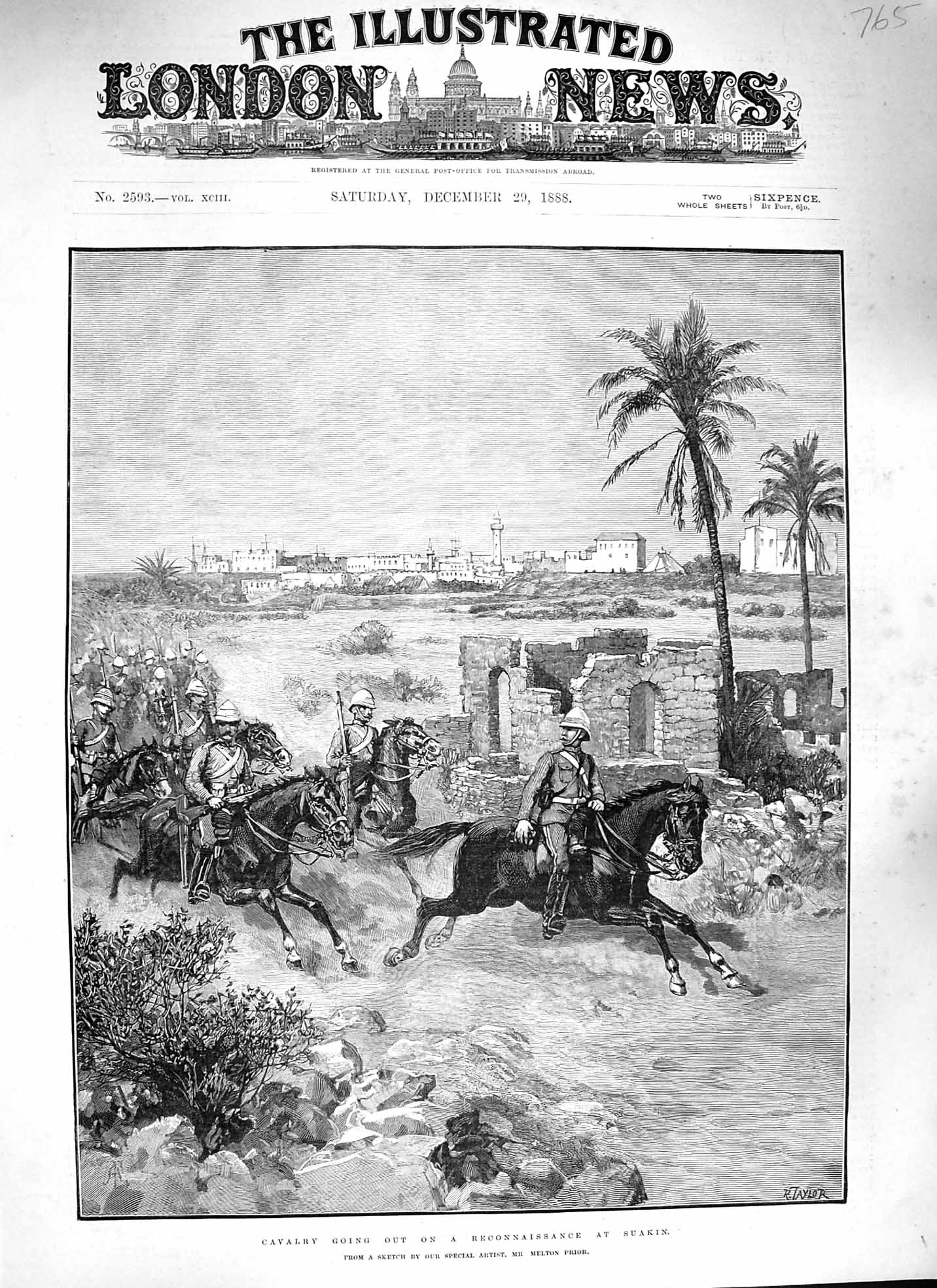 [Print 1888 Soldiers Cavalry Reconnaissance Suakin War Horses 765P193 Old Original]