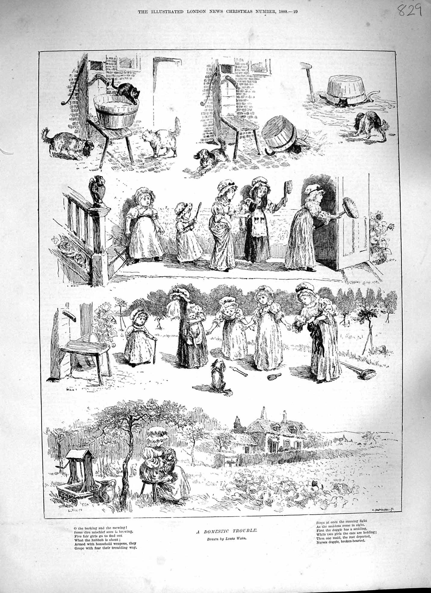 [Print 1888 Domestic Trouble Children Cats Dogs Wishing Well 829P193 Old Original]