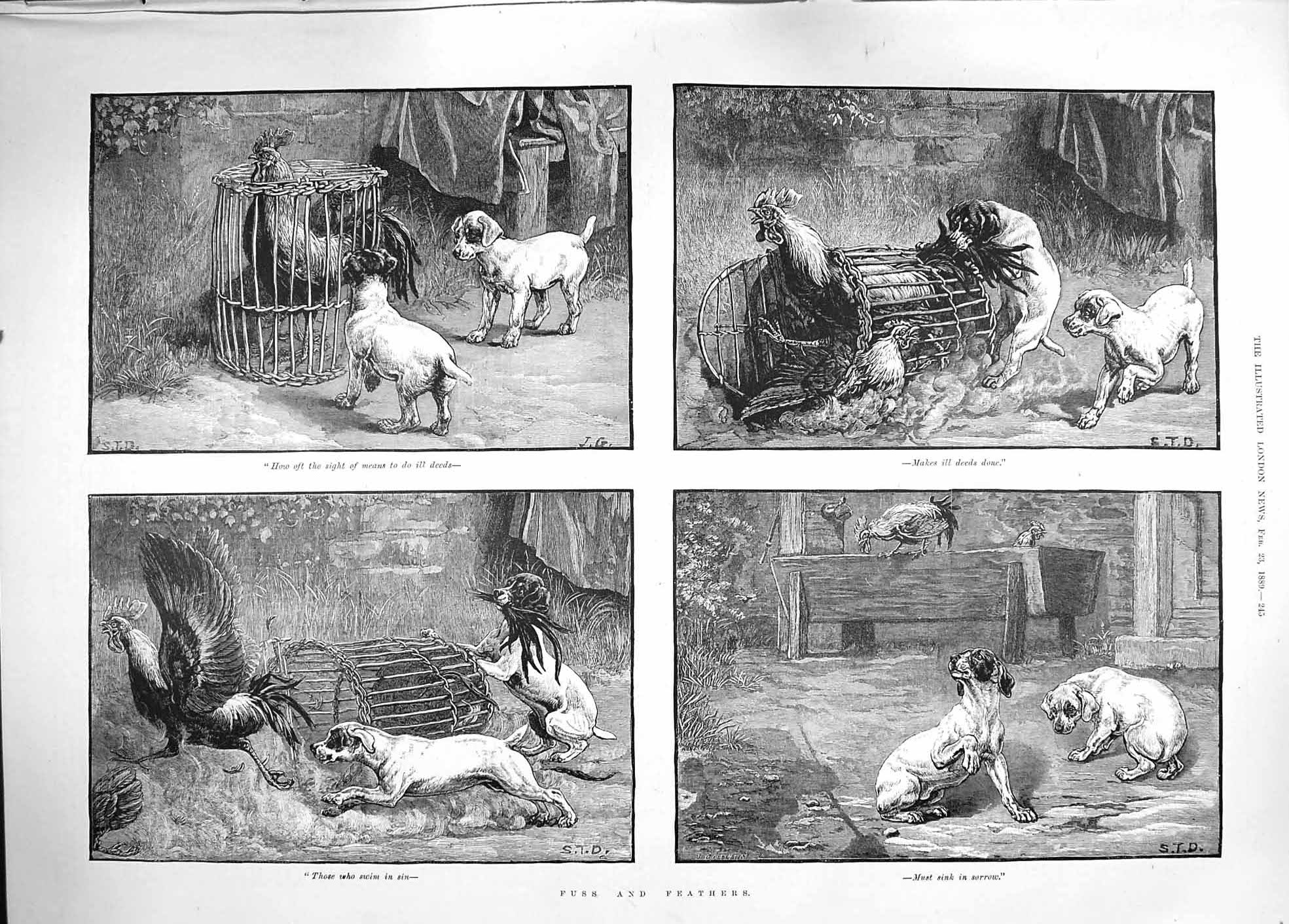[Print 1889 Fuss Feathers Cockeral Cage Dogs Farmyard Scene 245P194 Old Original]