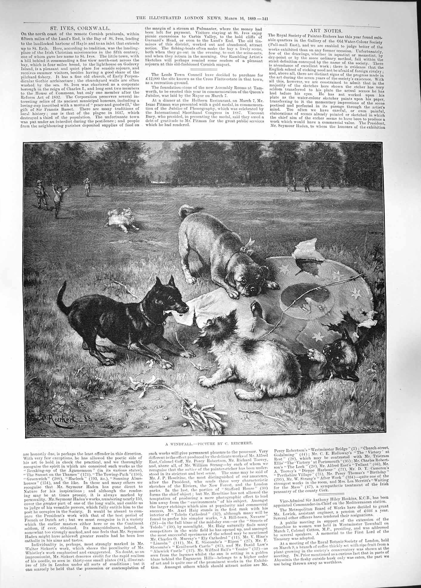 [Print 1889 Reichert Windfall Dogs Chewing Children Kite 341P194 Old Original]